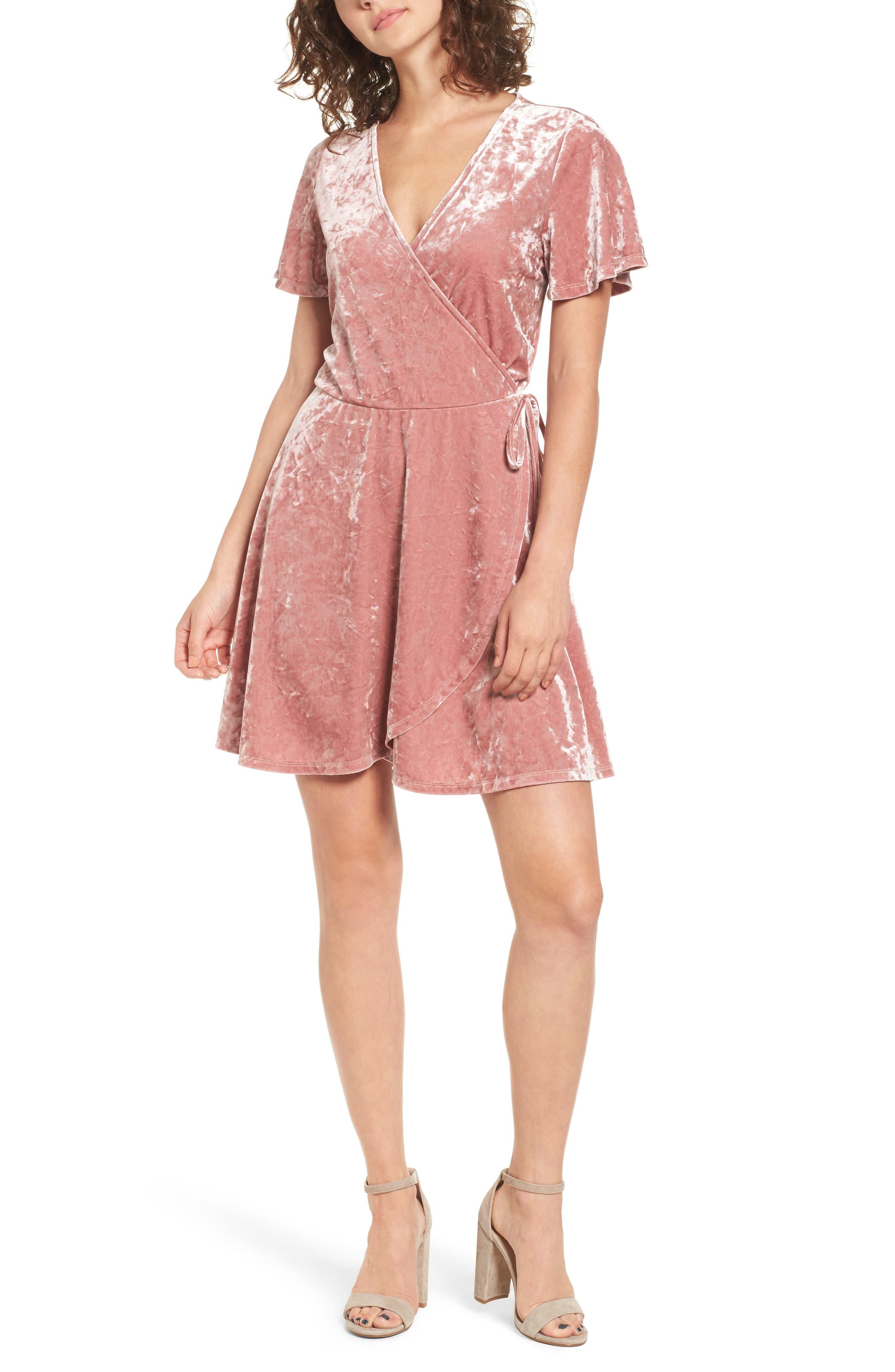 Love, Fire Crushed Velvet Surplice Dress