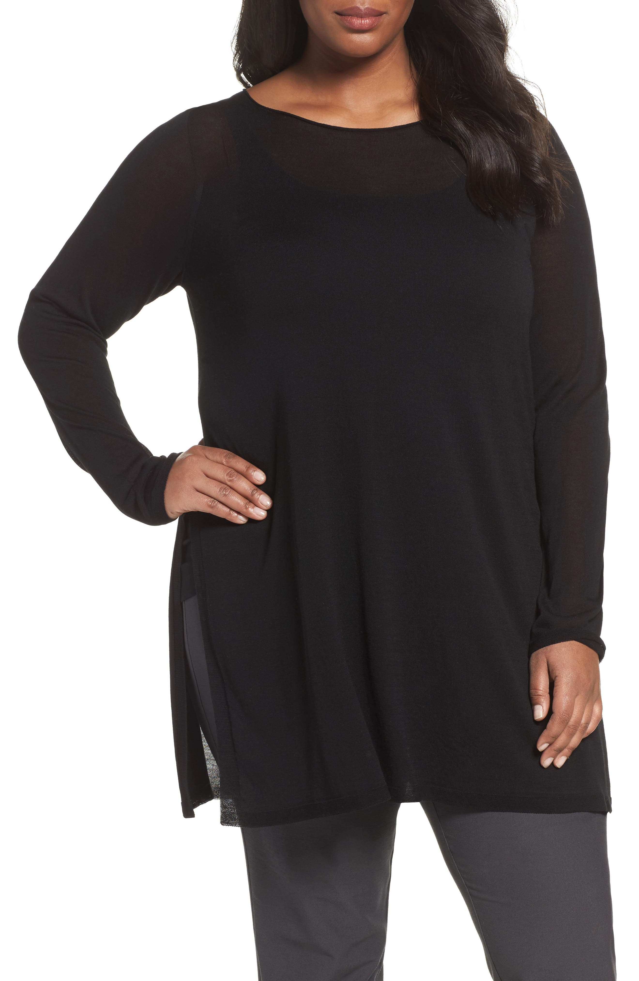 Eileen Fisher Ballet Neck Tencel® Tunic Top (Plus Size)