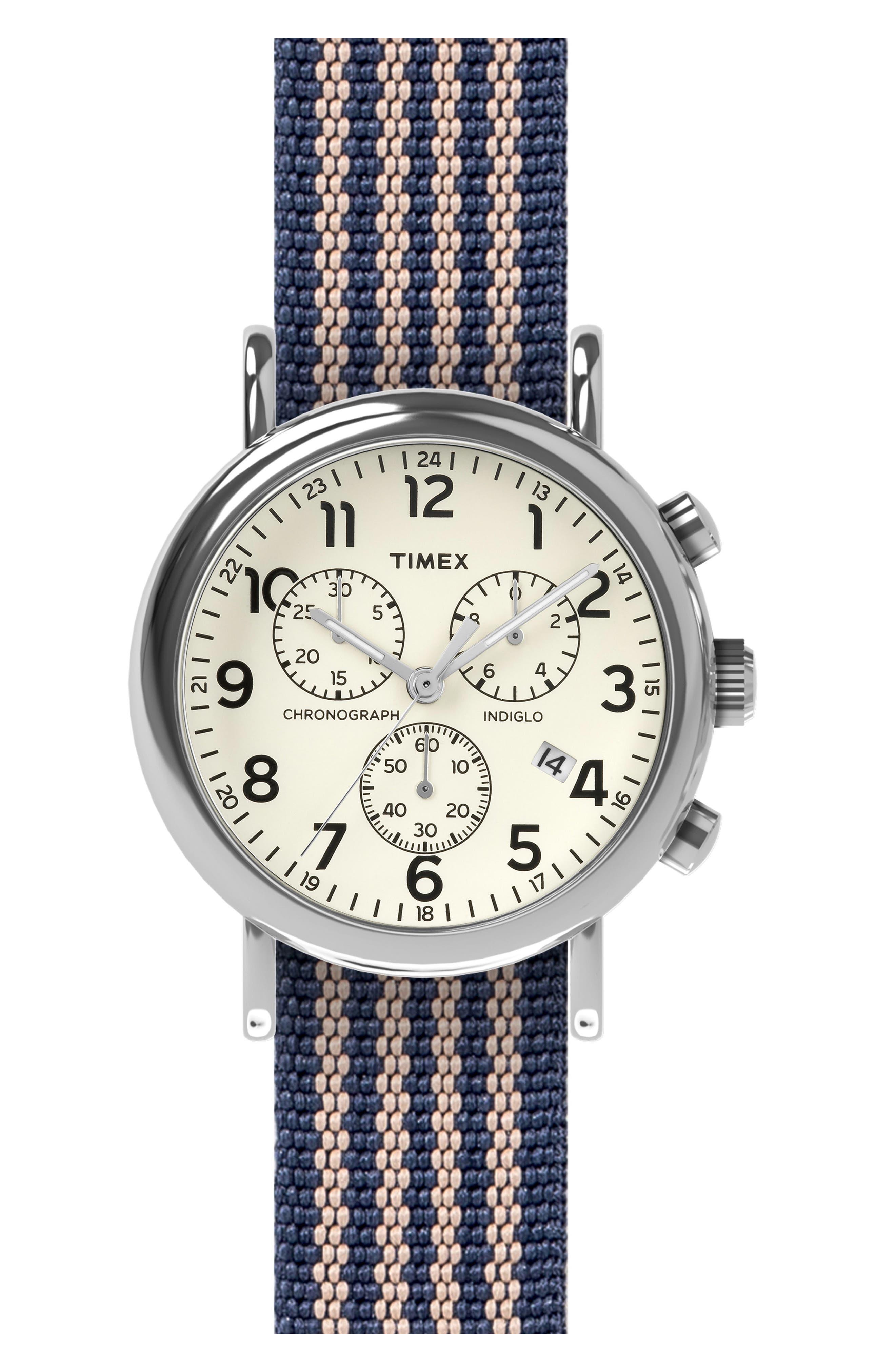 Timex® Chronograph Stripe Fabric Strap Watch, 40mm