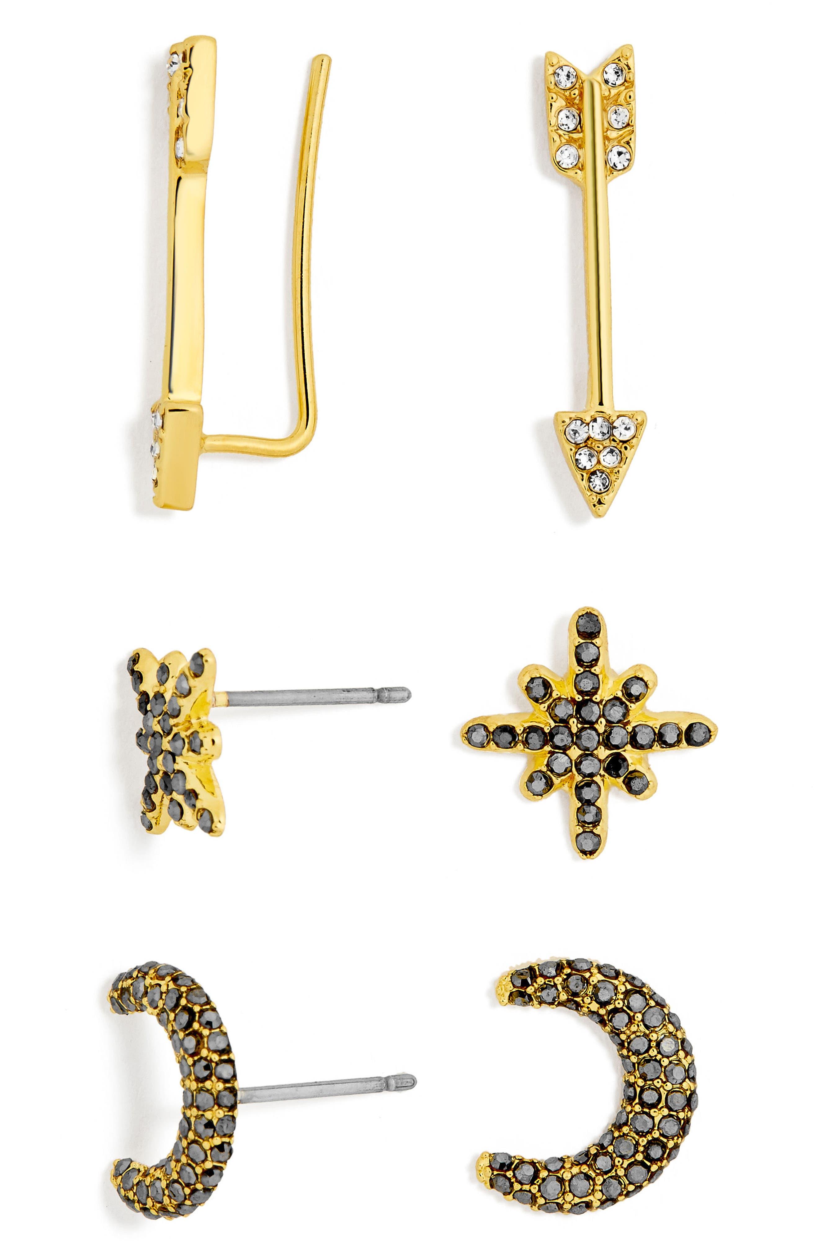 BaubleBar 3-Pack Crystal Earrings