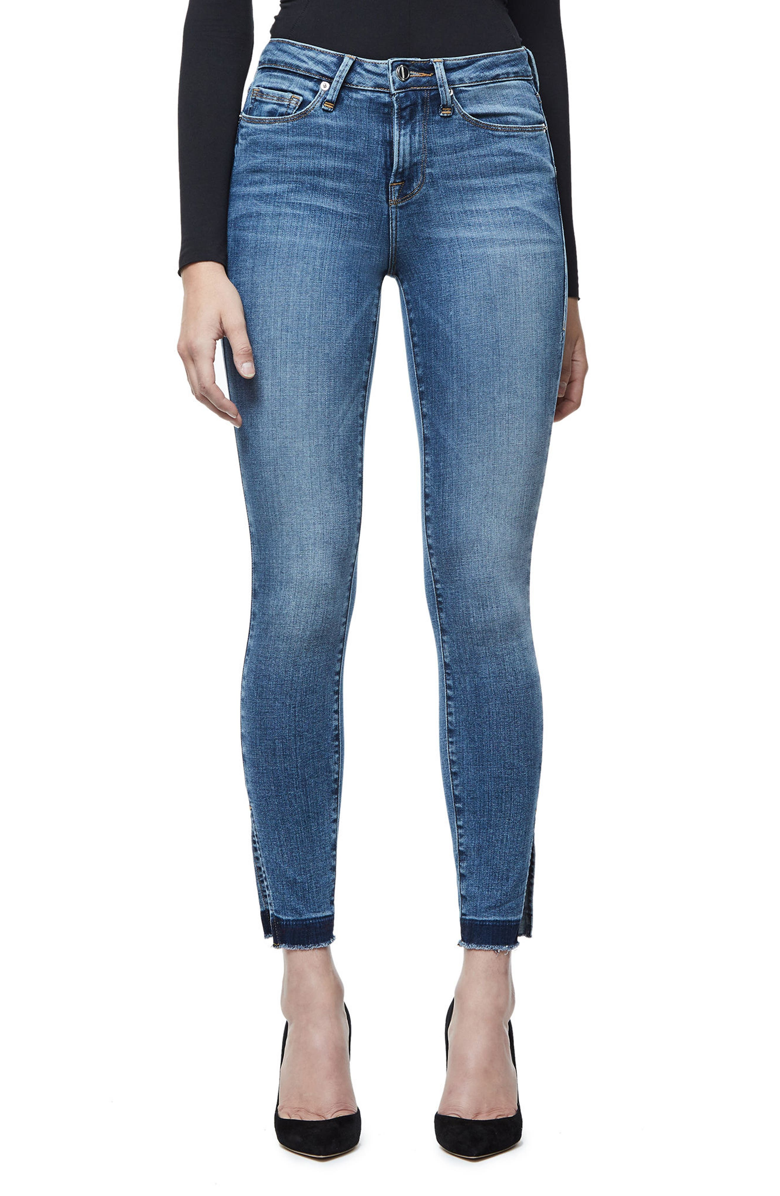 Good American Good Legs High Rise Split Hem Crop Skinny Jeans (Blue 061)