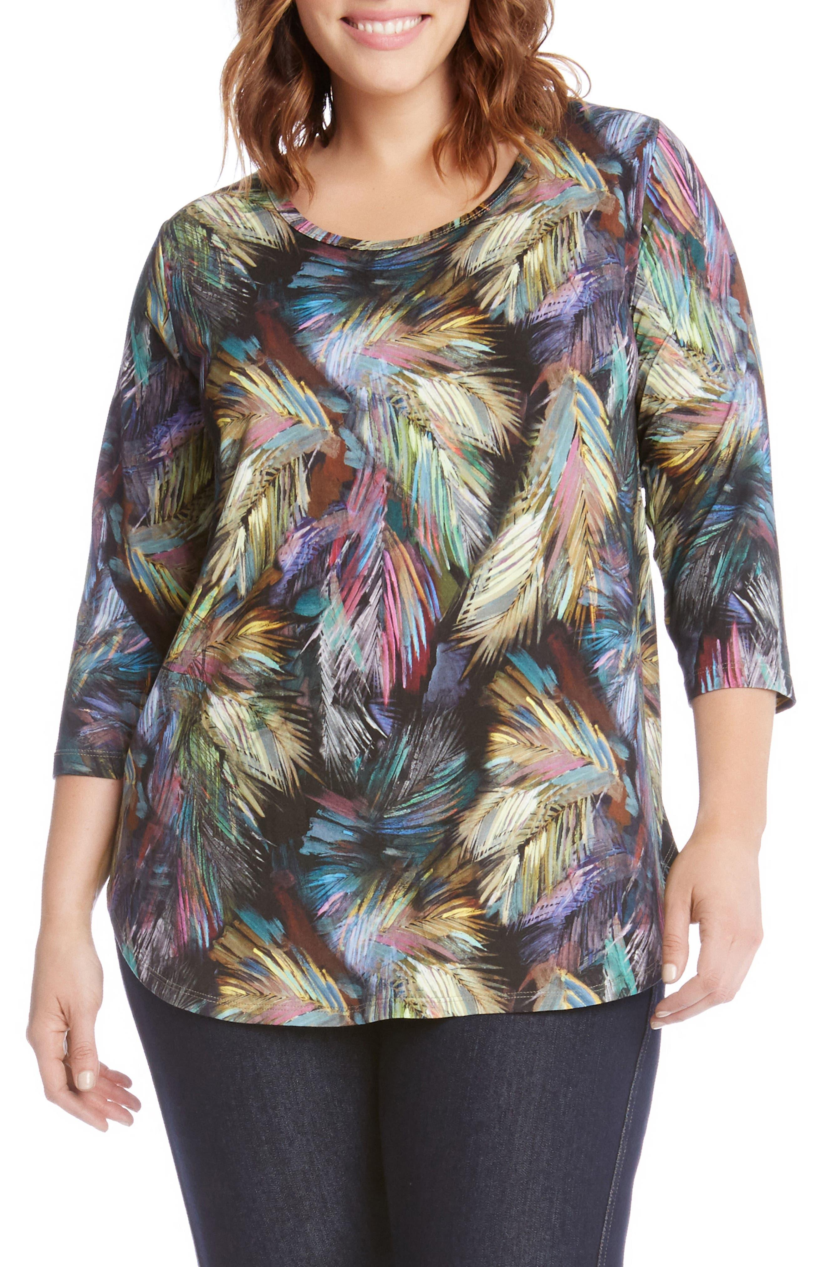 Karen Kane Palm Print Shirttail Tee (Plus Size)