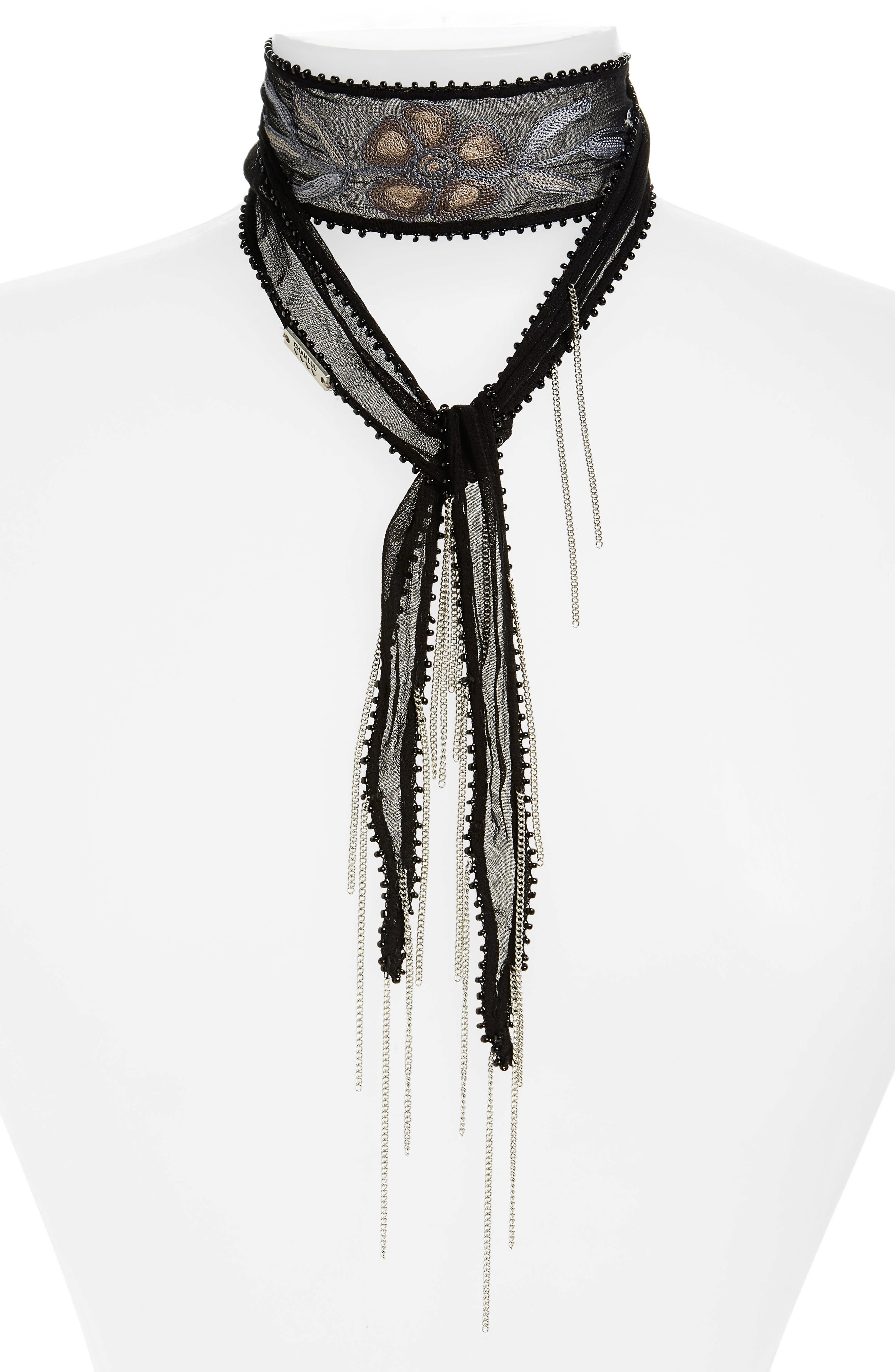 Chan Luu Embellished Scarf Necklace