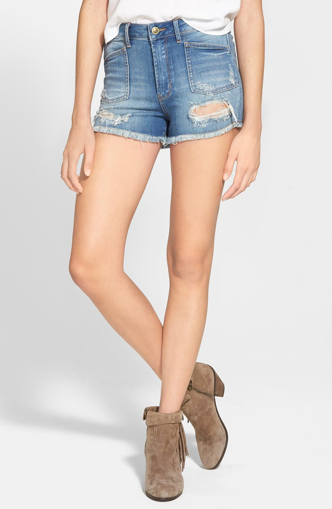 Alternate Image 1 Selected - Articles of Society Distressed High Waist Denim Shorts (Medium Wash)