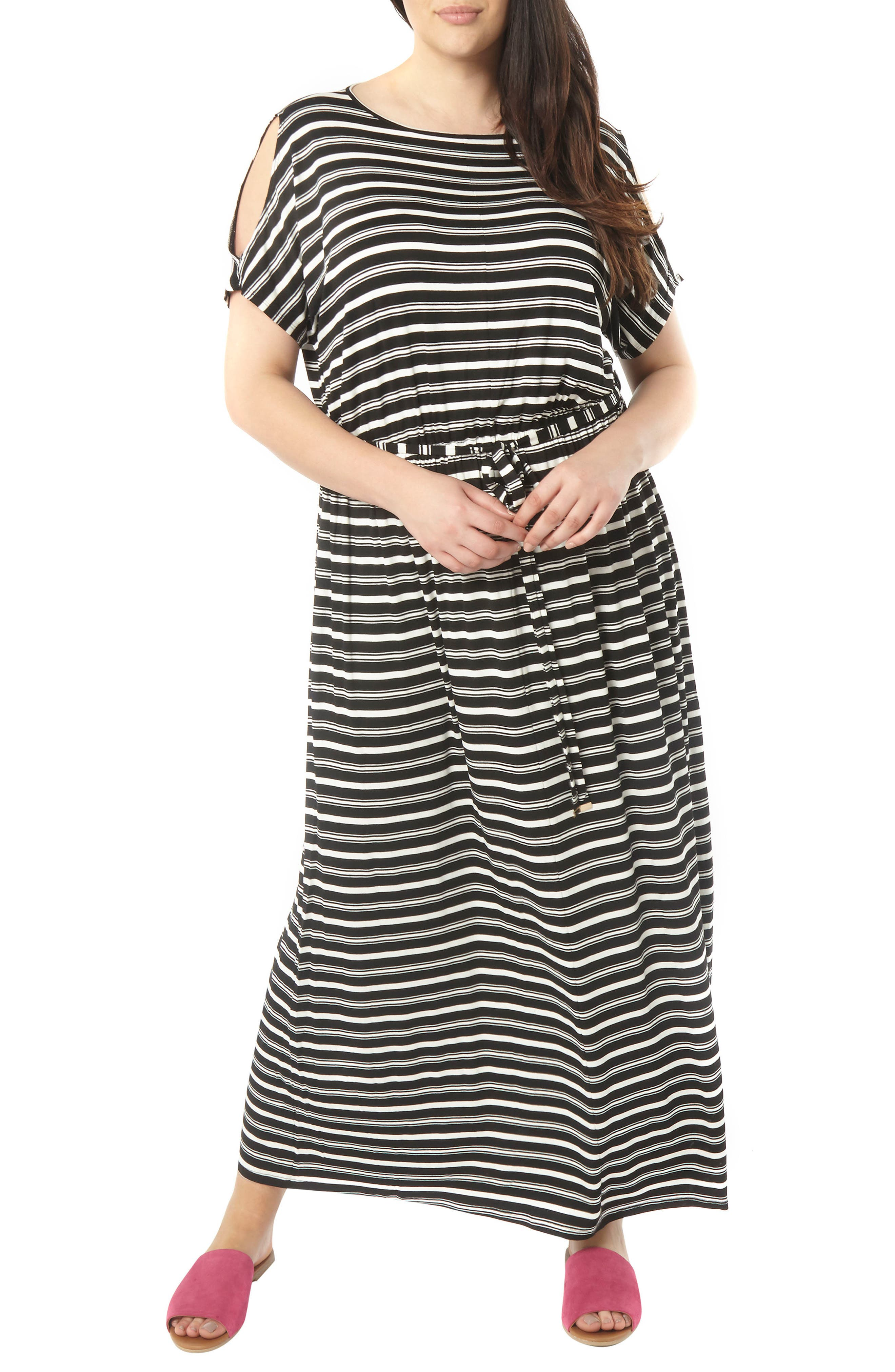 Dorothy Perkins Stripe Jersey Cold Shoulder Maxi Dress (Plus Size)