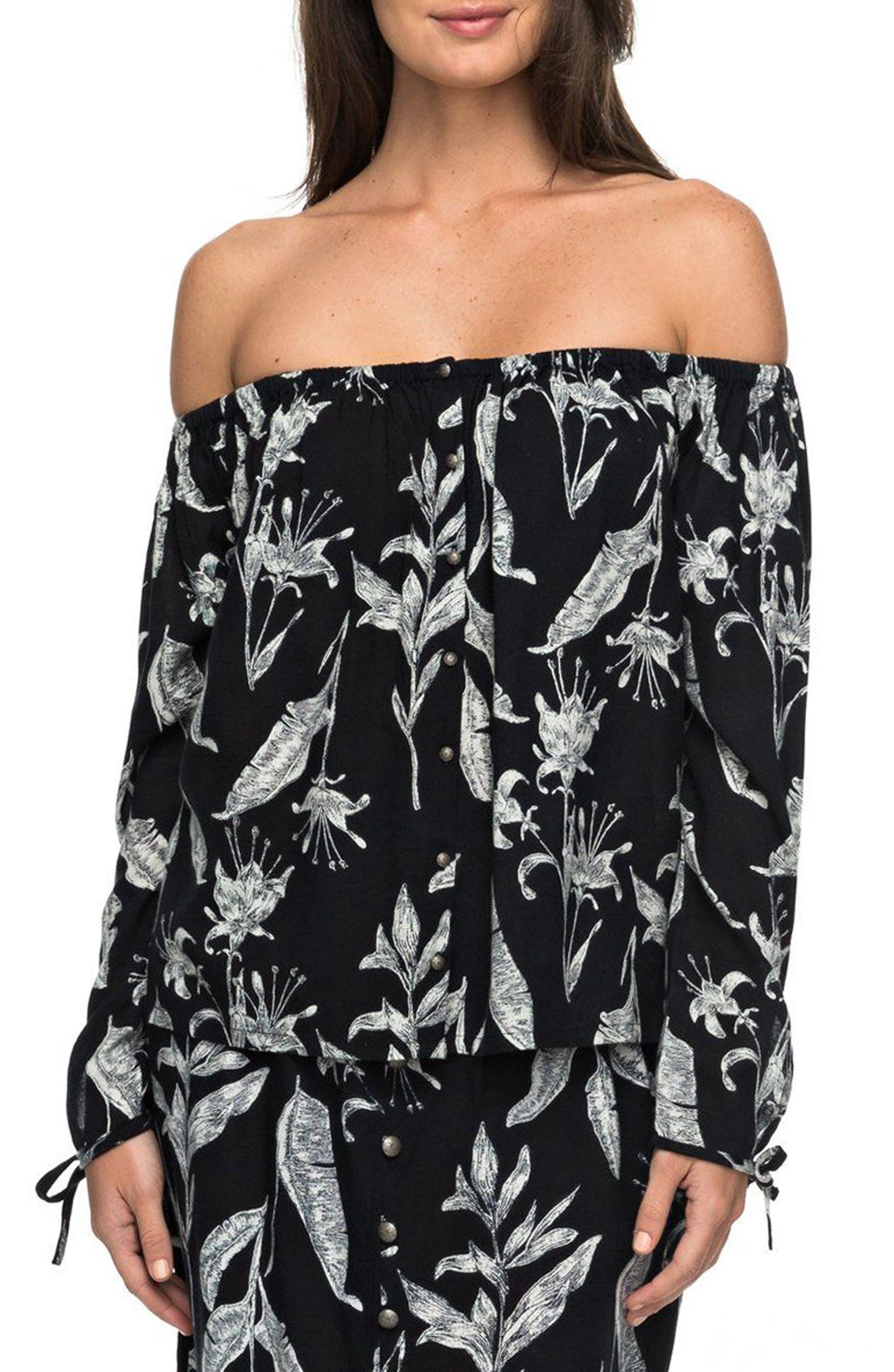 Roxy Print Off the Shoulder Neckline