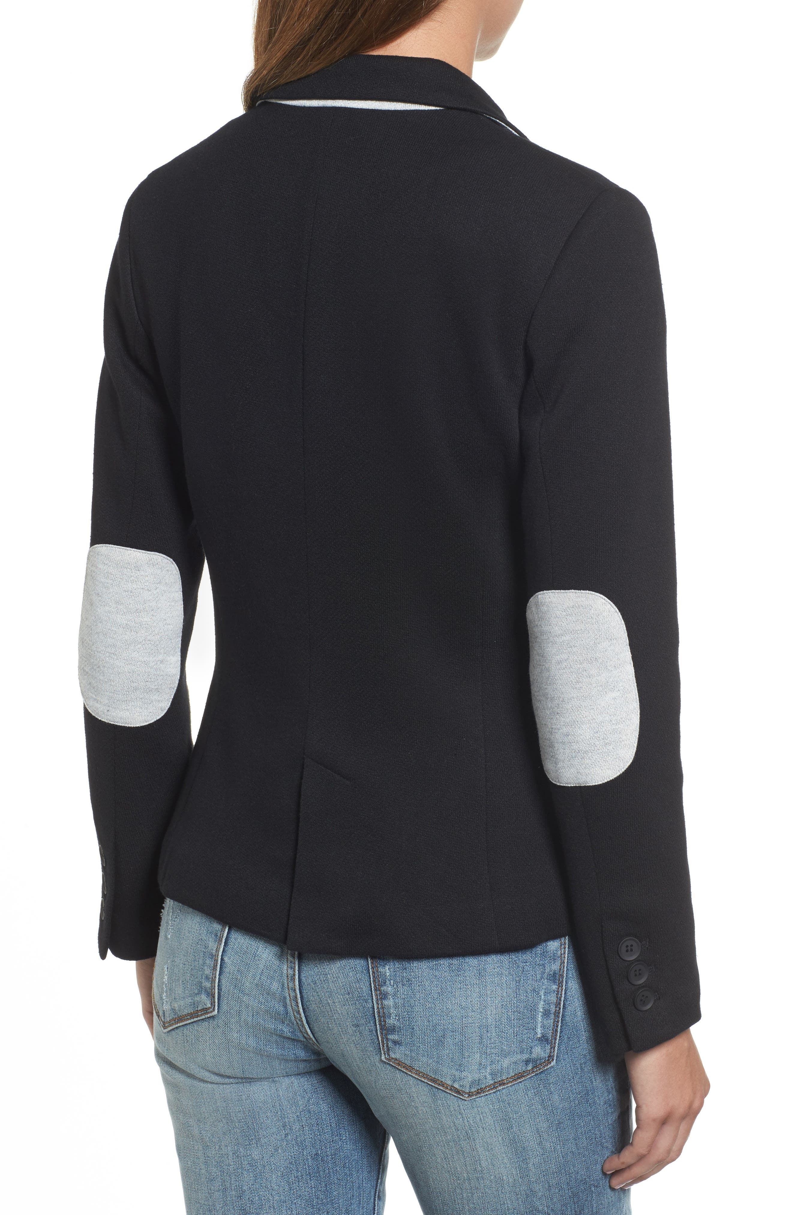 Alternate Image 2  - Olivia Moon Elbow Patch Knit Blazer (Regular & Petite)