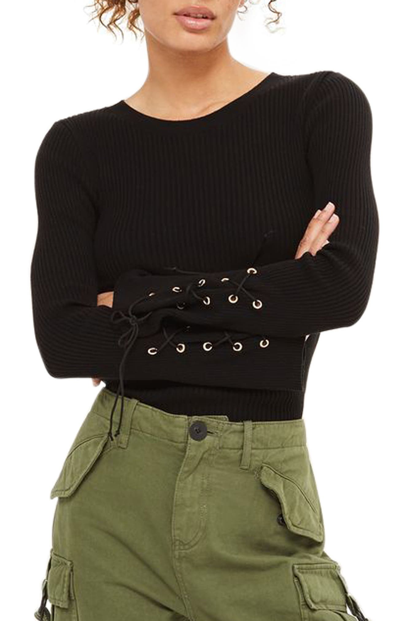 Topshop Lace-Up Sleeve Sweater