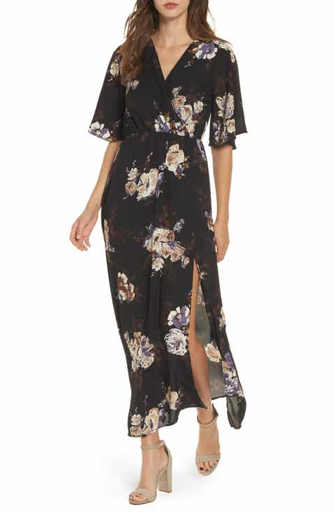 Everly Floral Print Woven Maxi Dress