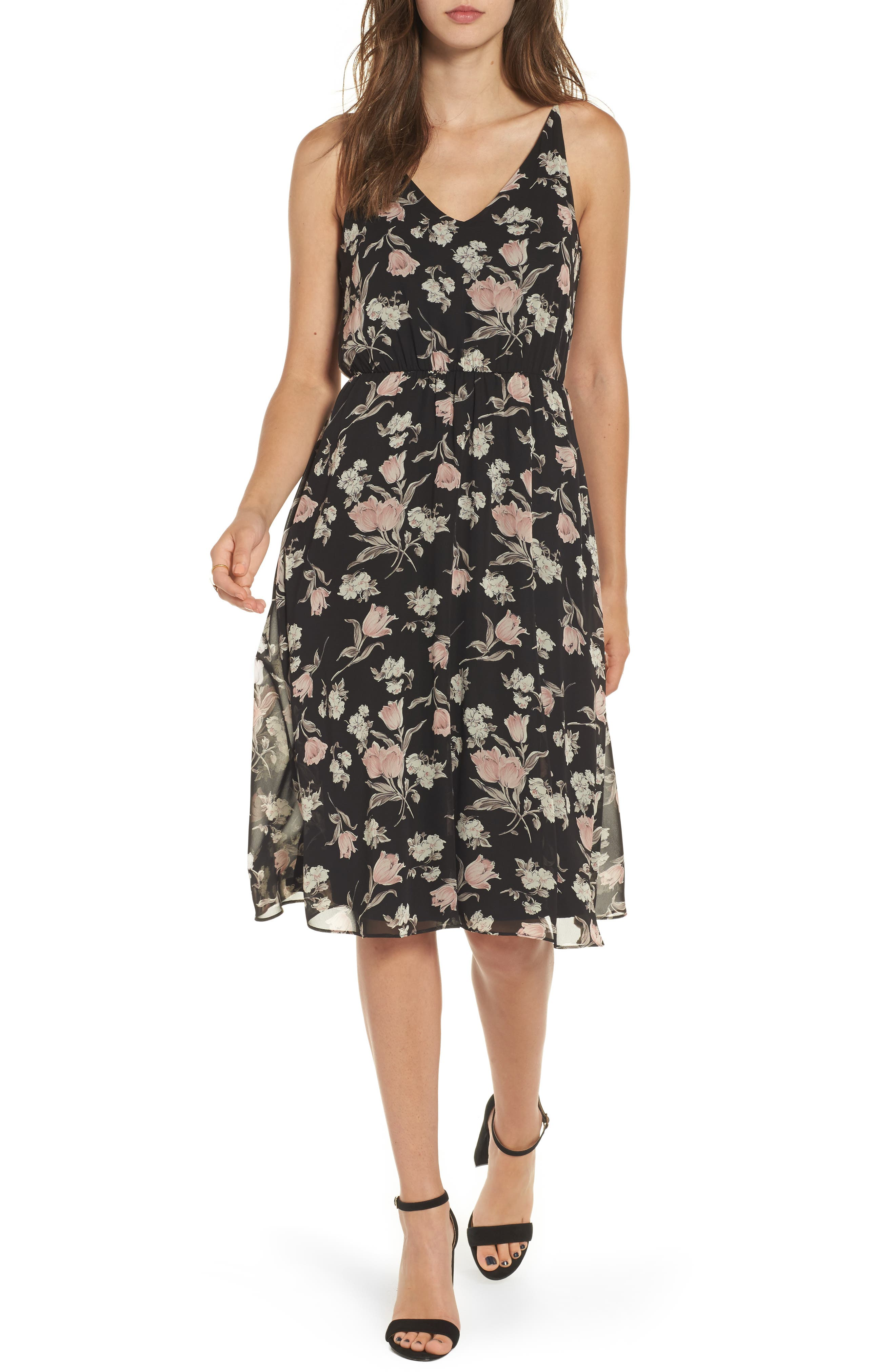 Soprano Floral Blouson Midi Dress