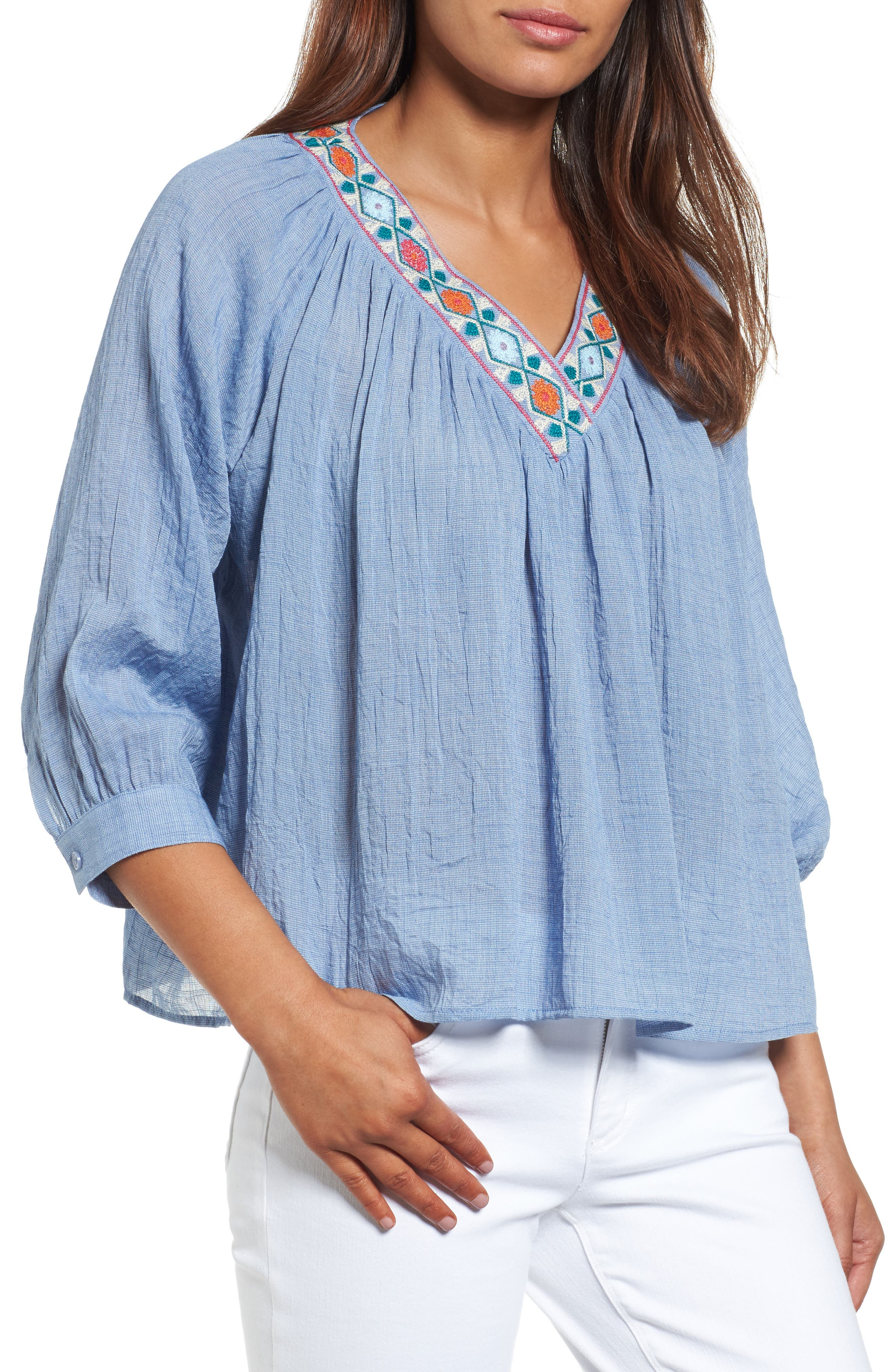 THML Embroidered Trim Raglan Blouse