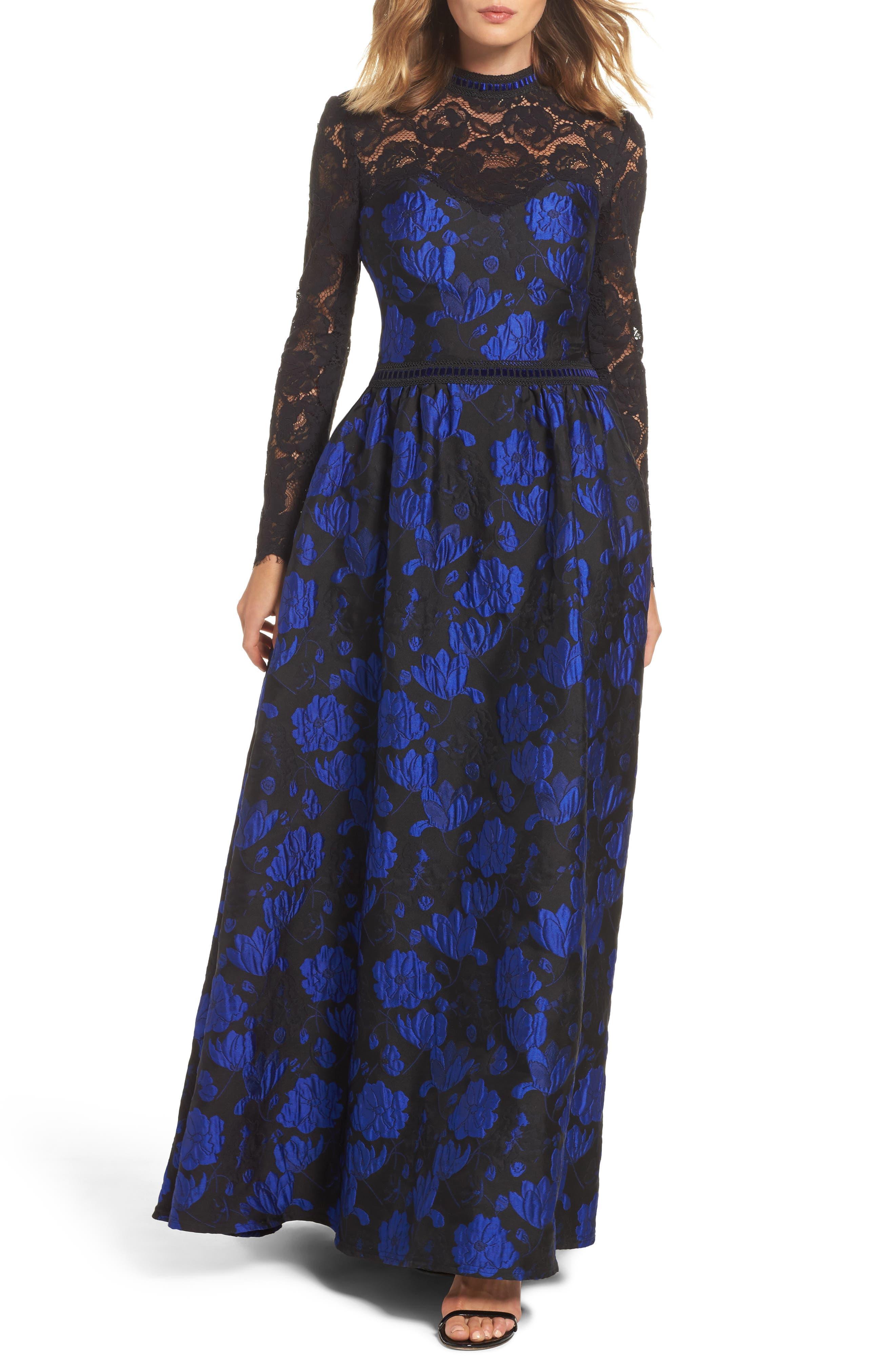 Tadashi Shoji High Neck Rose Jacquard Gown