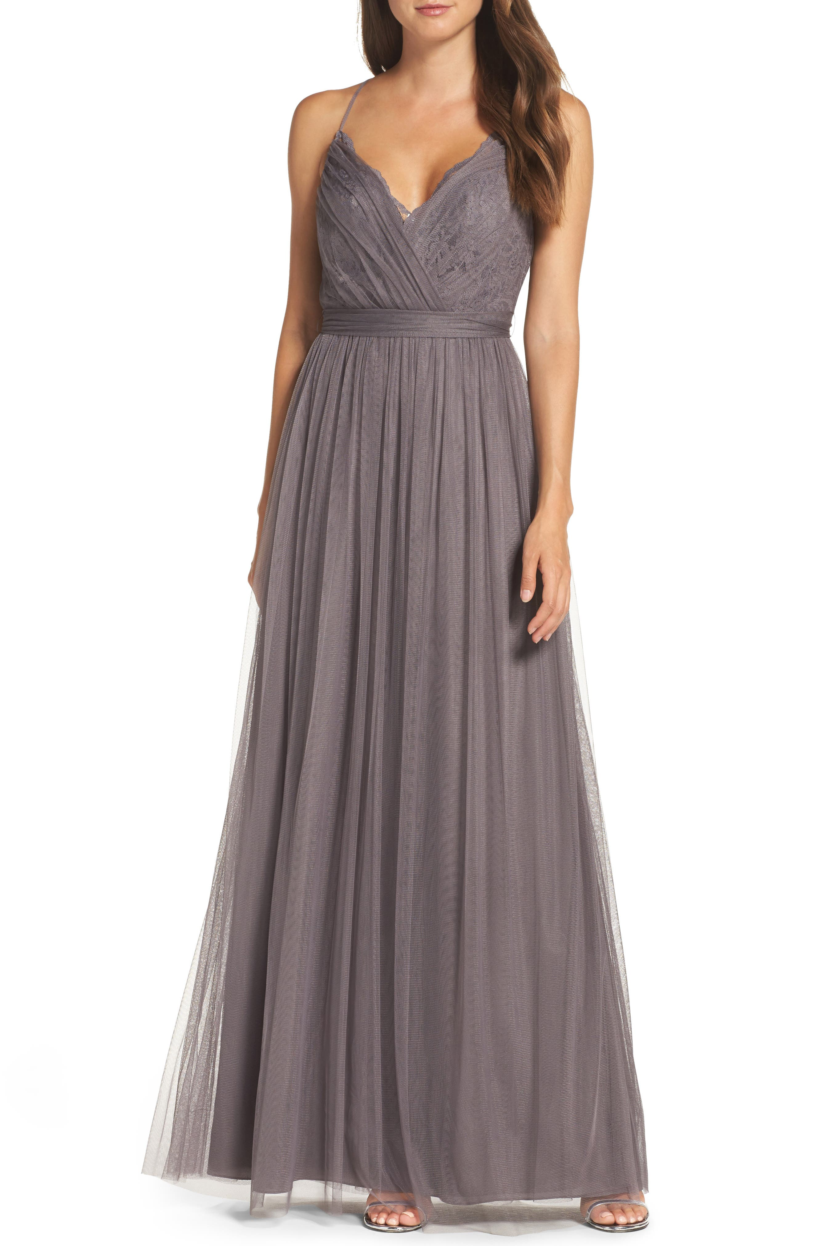 Watters Aria Lace & Tulle Gown