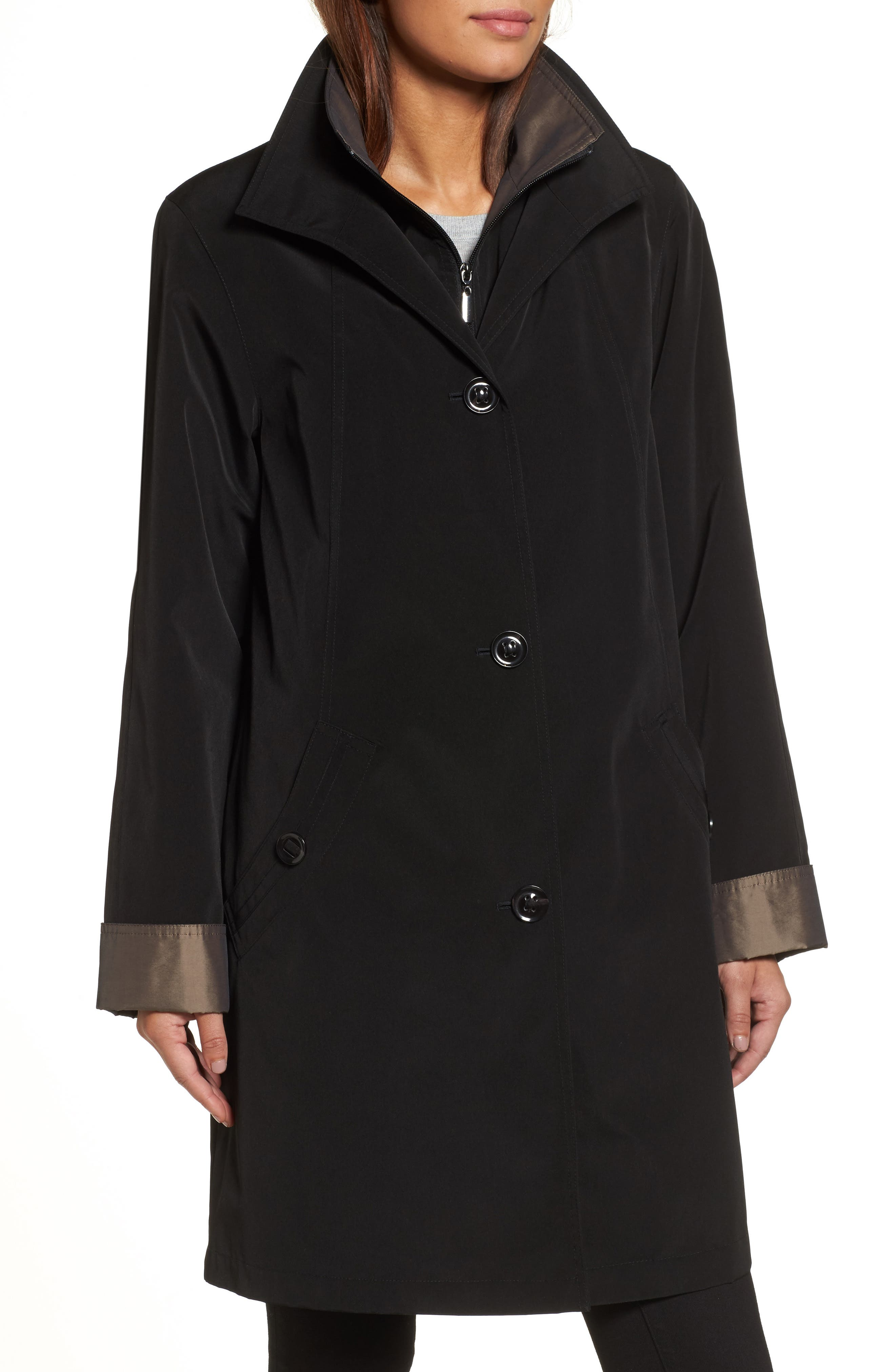 Alternate Image 4  - Gallery A-Line Raincoat with Detachable Hood & Liner (Online Exclusive)