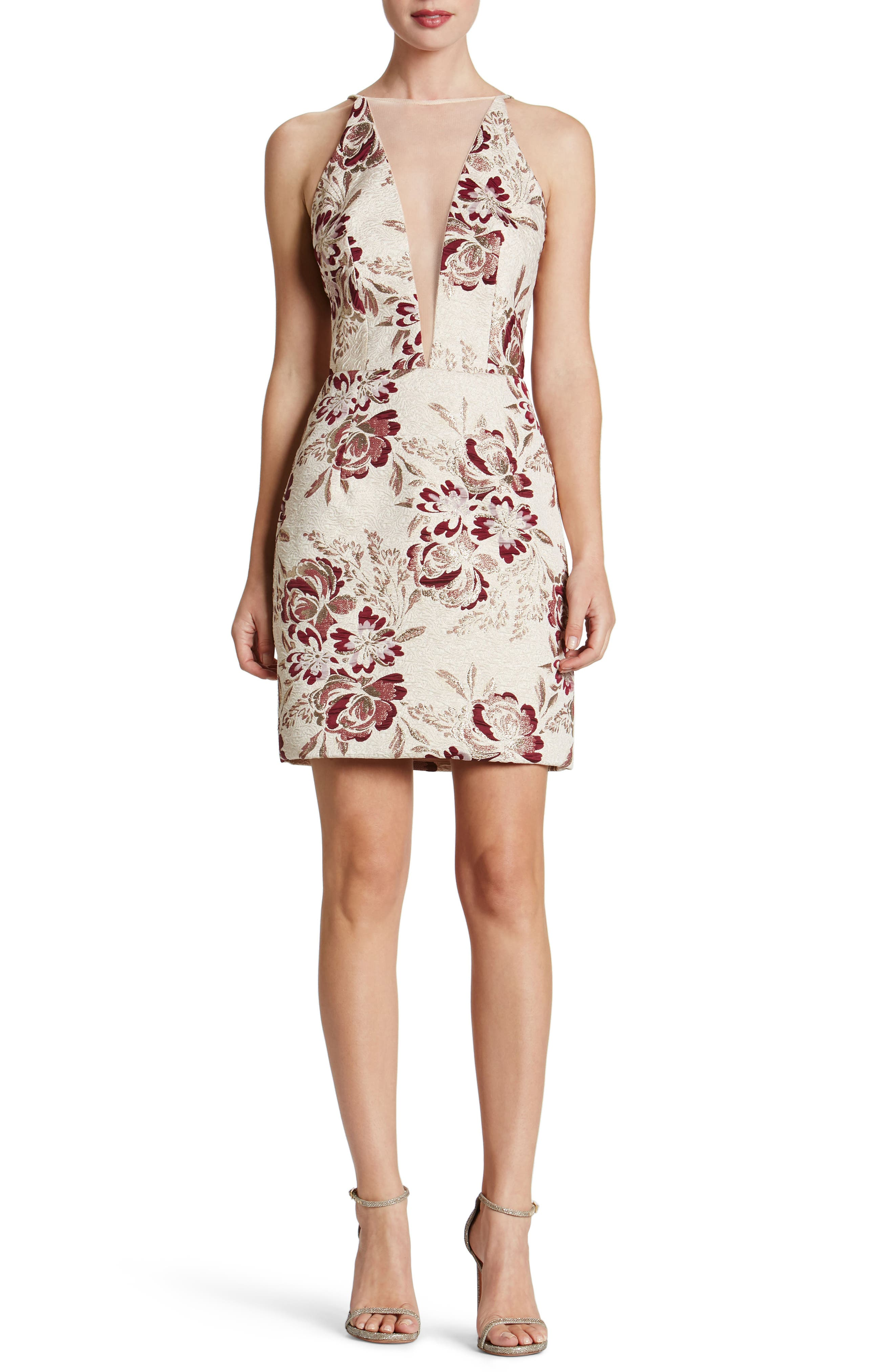 Dress the Population Kennedy Mesh Plunge Sheath Dress