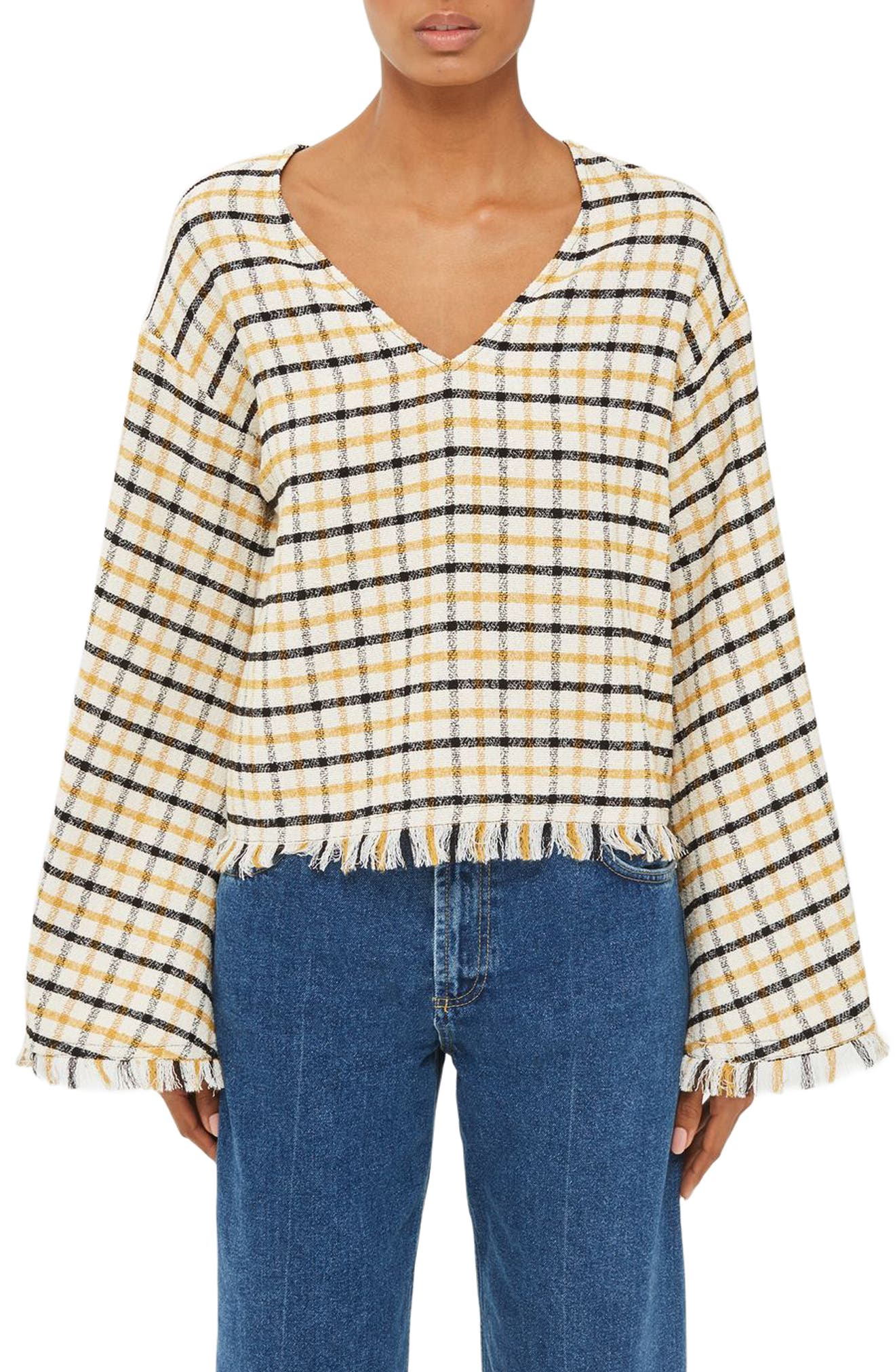 Topshop Boutique Check Flared Sleeve Blouse