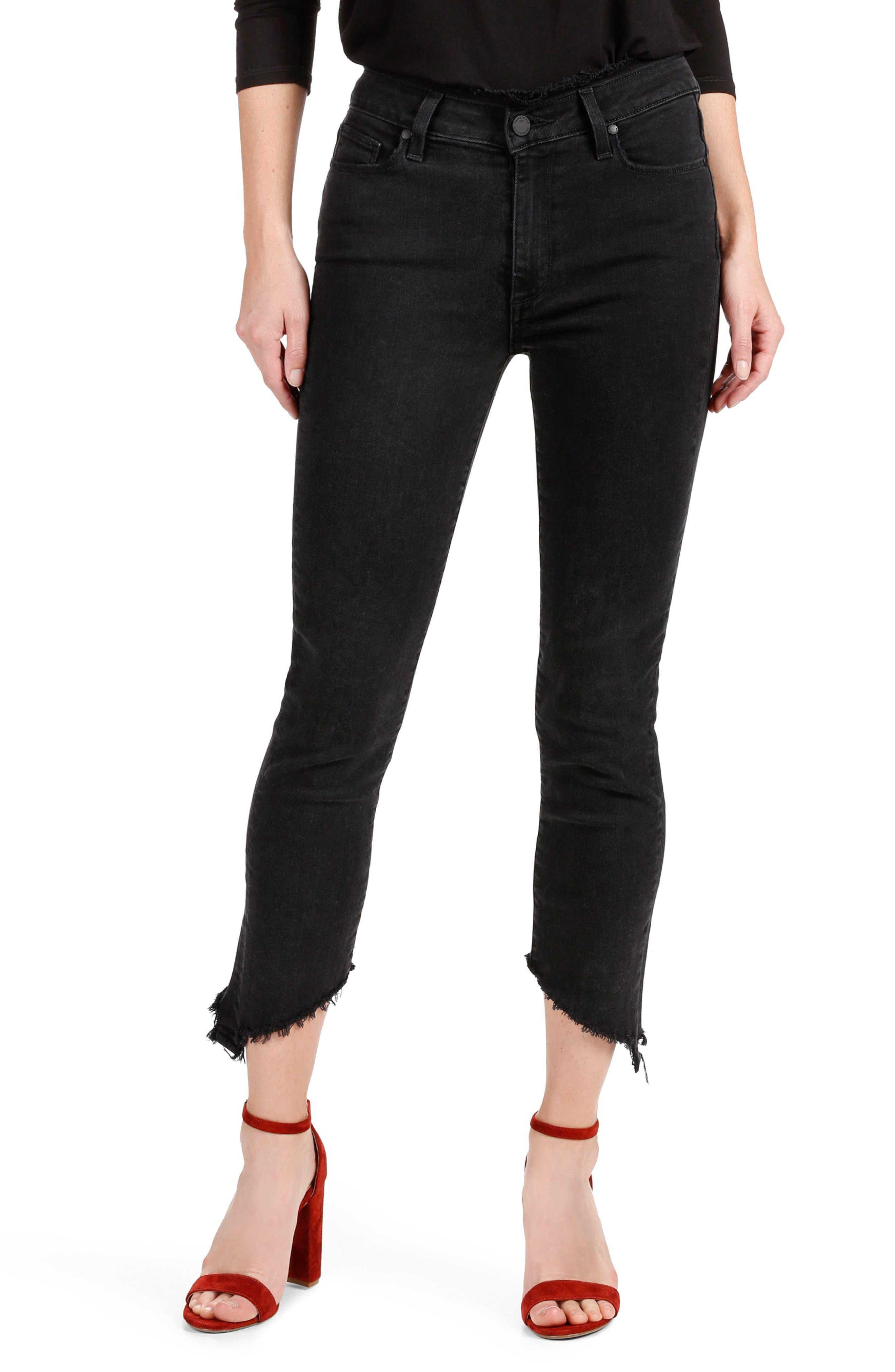PAIGE Julia High Waist Straight Leg Jeans with Angled Hems (Midnight Noir)