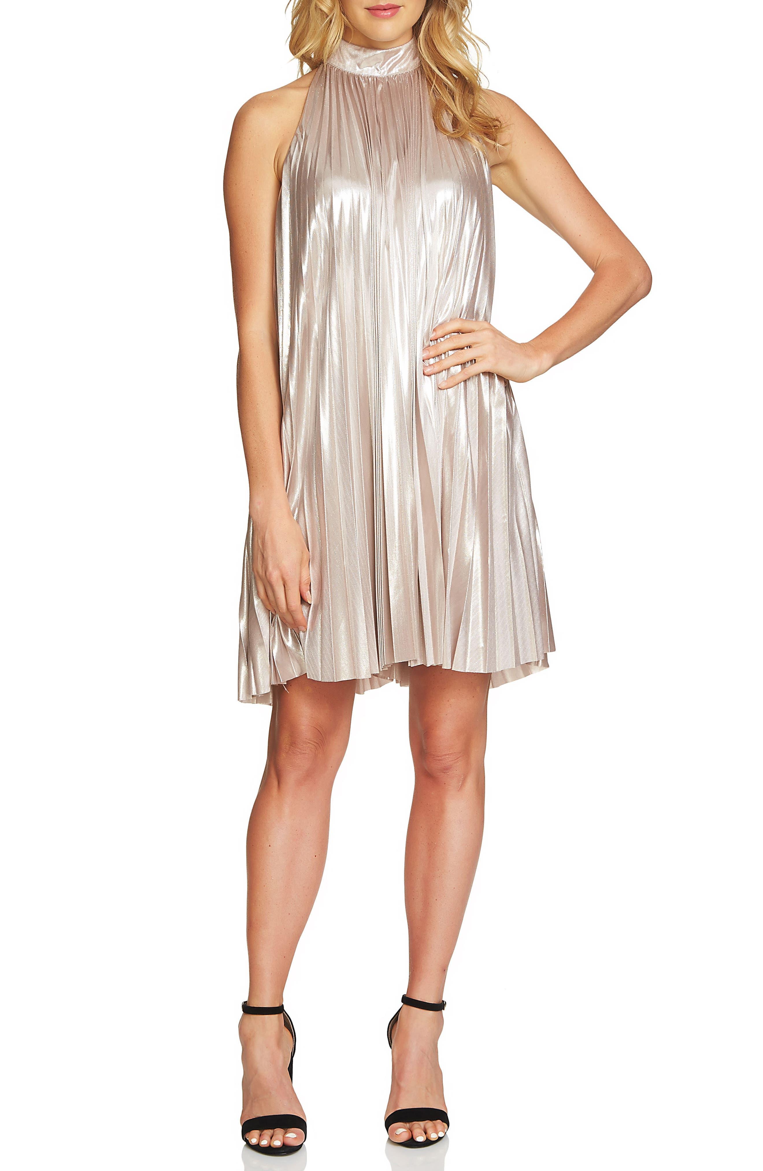 1.STATE Pleated Metallic Swing Dress