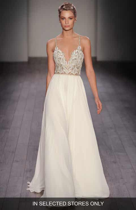 hayley paige teresa t strap back embellished chiffon a line gown