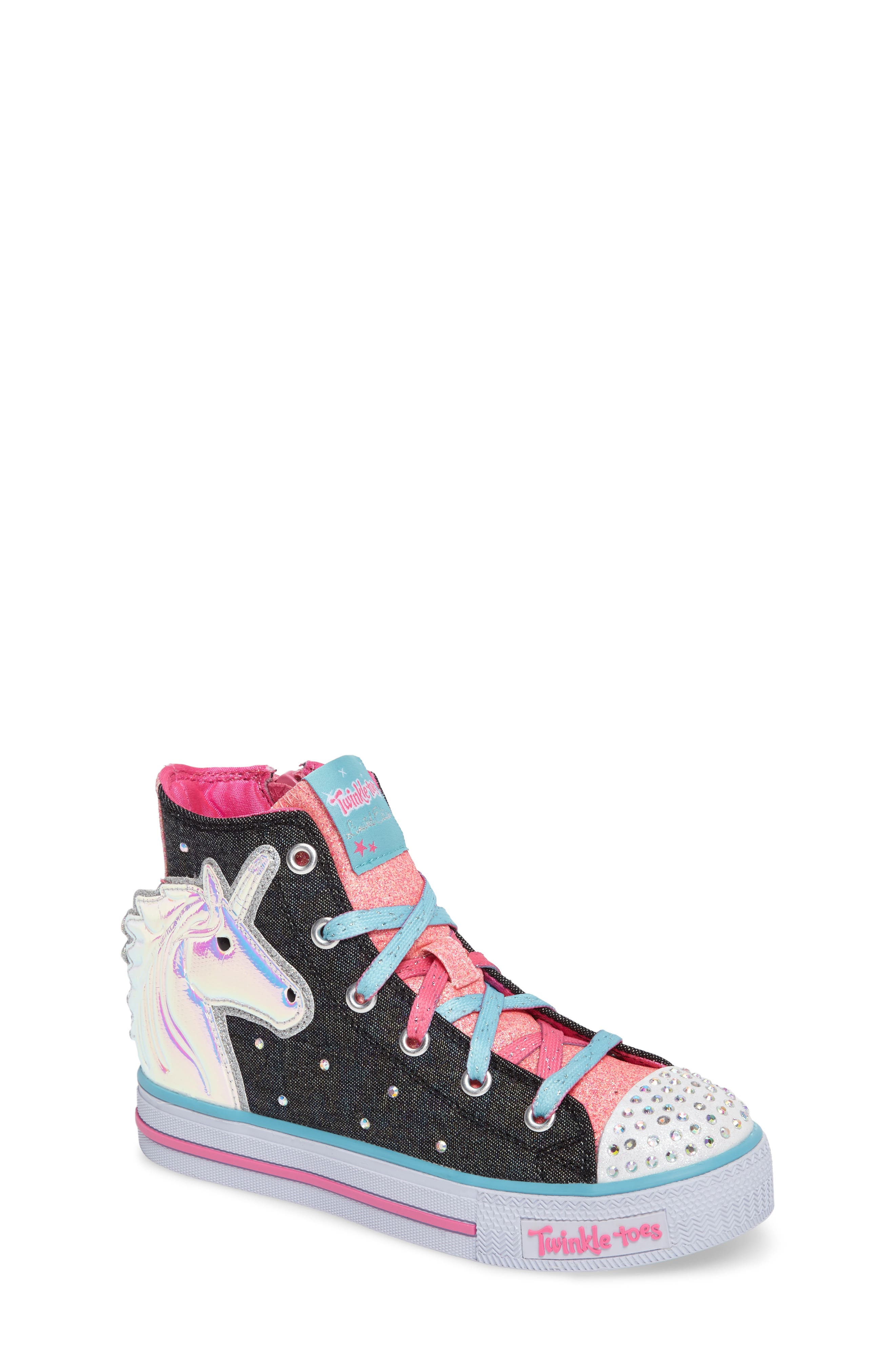 SKECHERS Twinkle Toes Shuffles Prancing Pretty Light-Up Sneaker (Toddler, Little Kid & Big Kid)