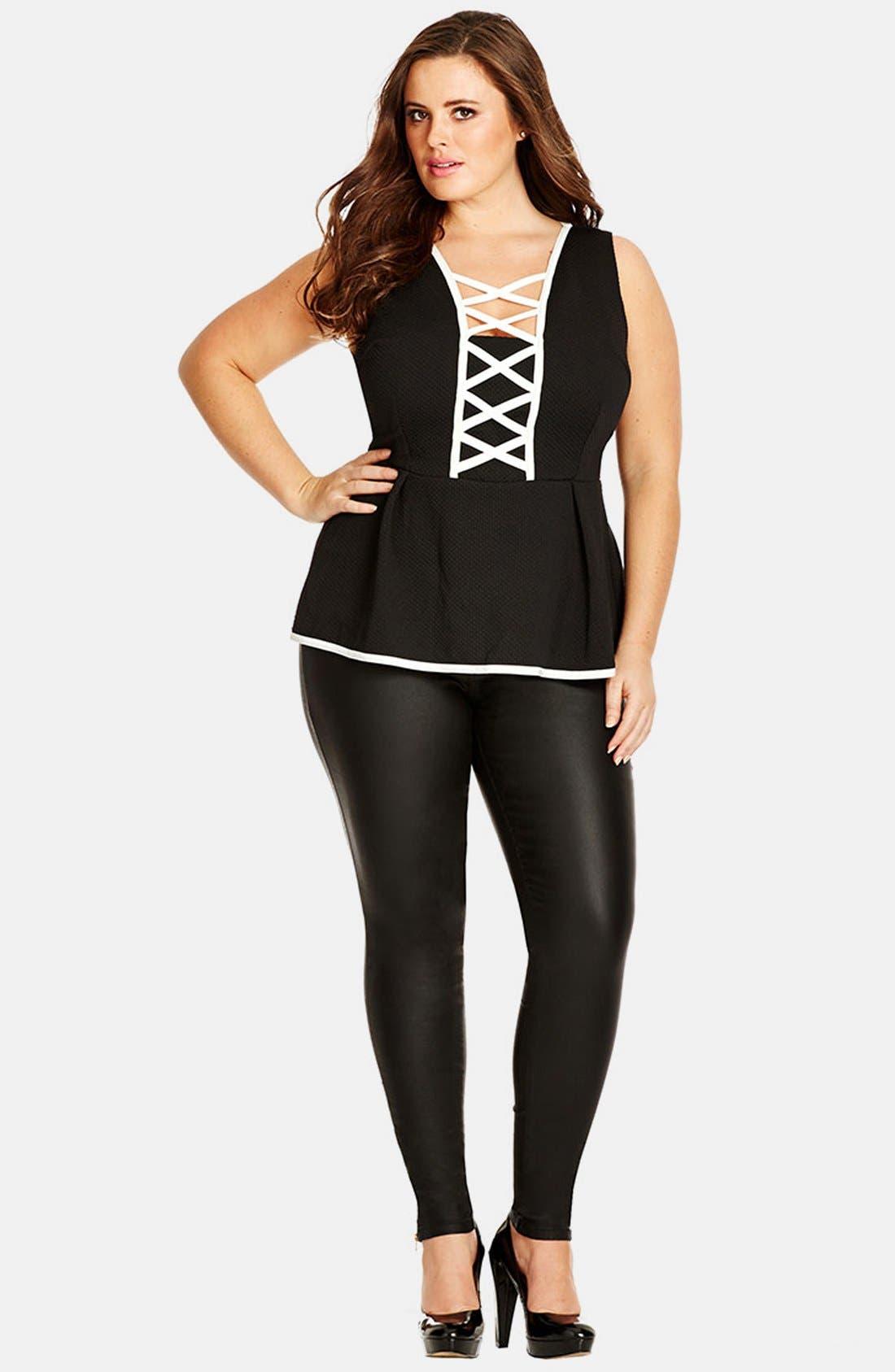 Alternate Image 4  - City Chic 'Pick Me Up' Stretch Skinny Jeans (Black) (Plus Size)