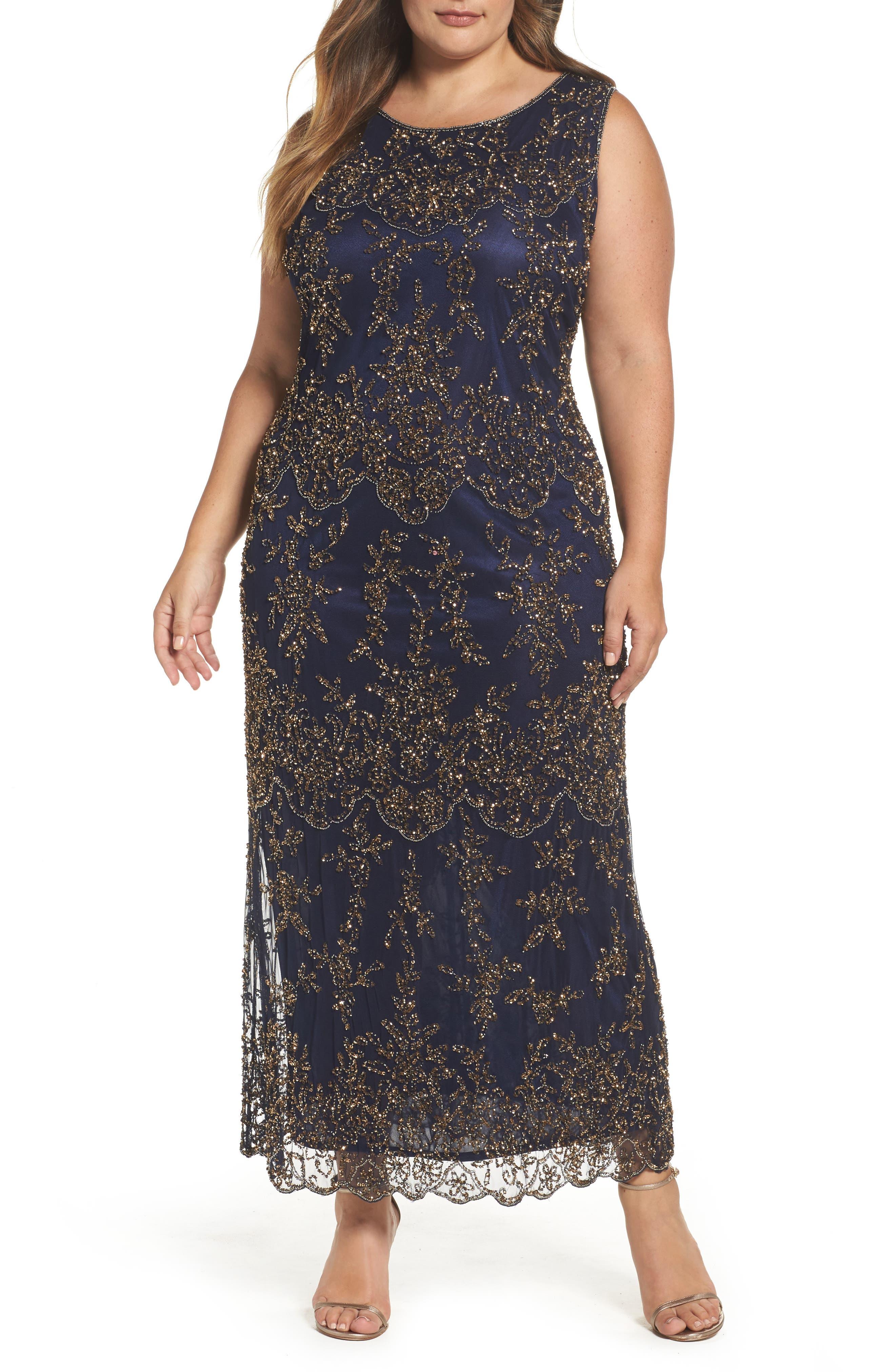 Pisarro Nights Embellished Bateau Neck Long Dress (Plus Size)
