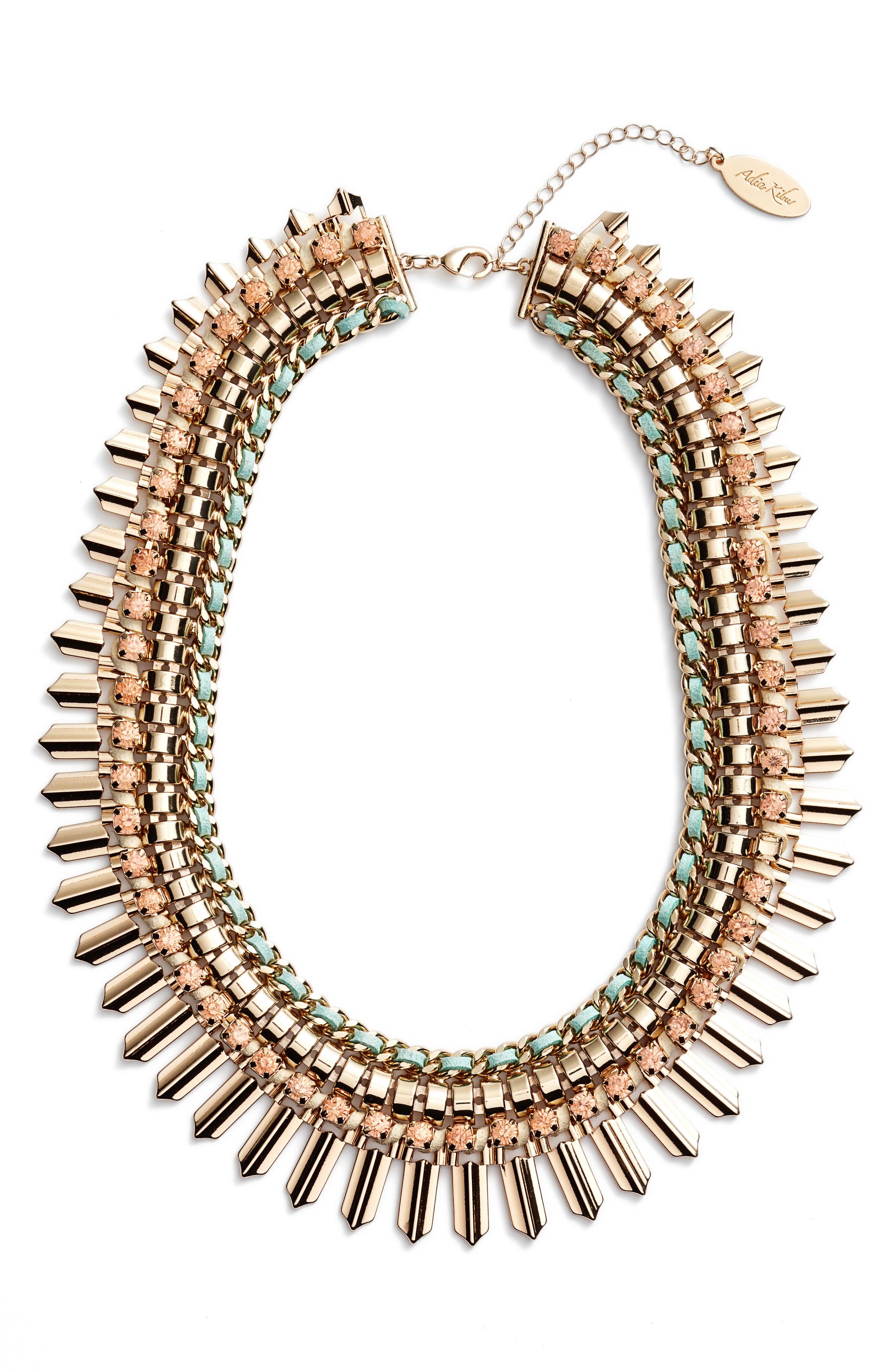 Adia Kibur Crystal & Suede Statement Necklace