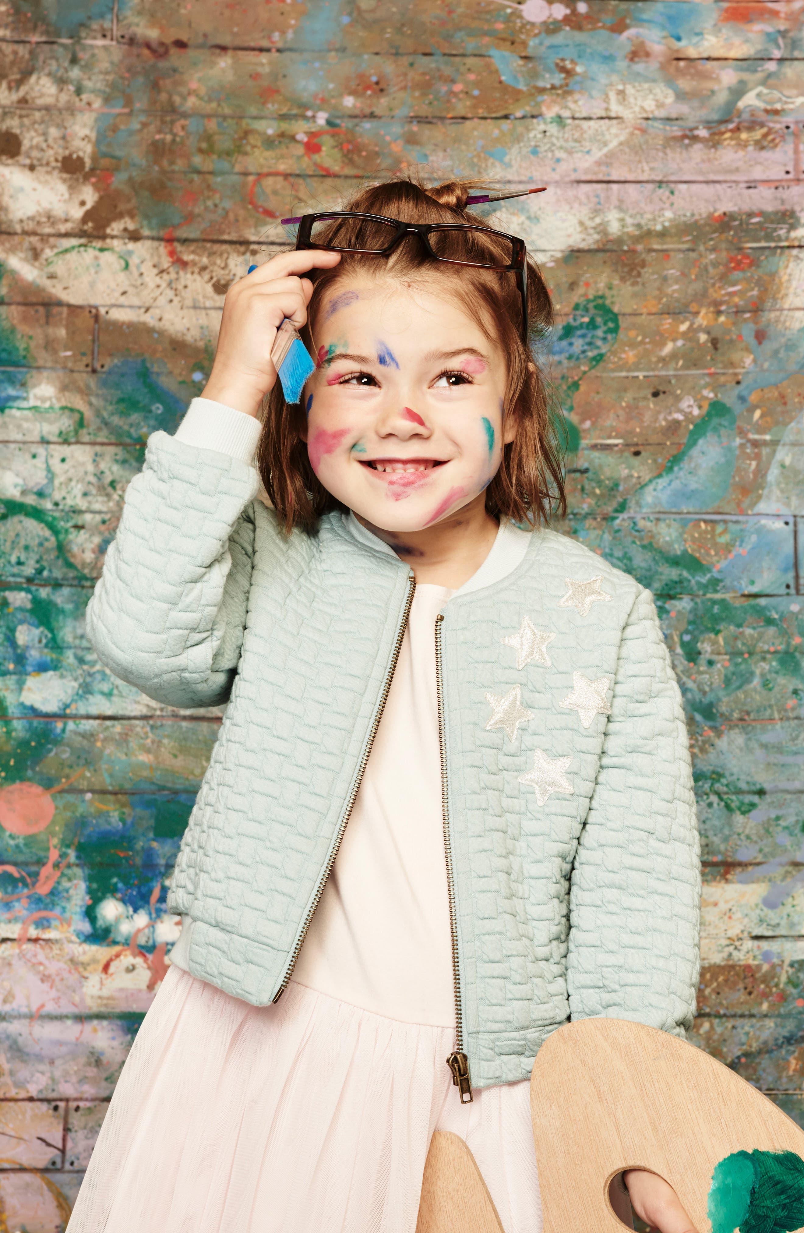 Alternate Image 5  - Pippa & Julie Bomber Jacket & Tulle Dress Set (Toddler Girls & Little Girls)