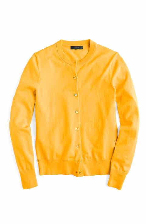 J.Crew Jackie Cotton Blend Cardigan - Women's Yellow Cardigan Sweaters: Long, Cropped & More Nordstrom