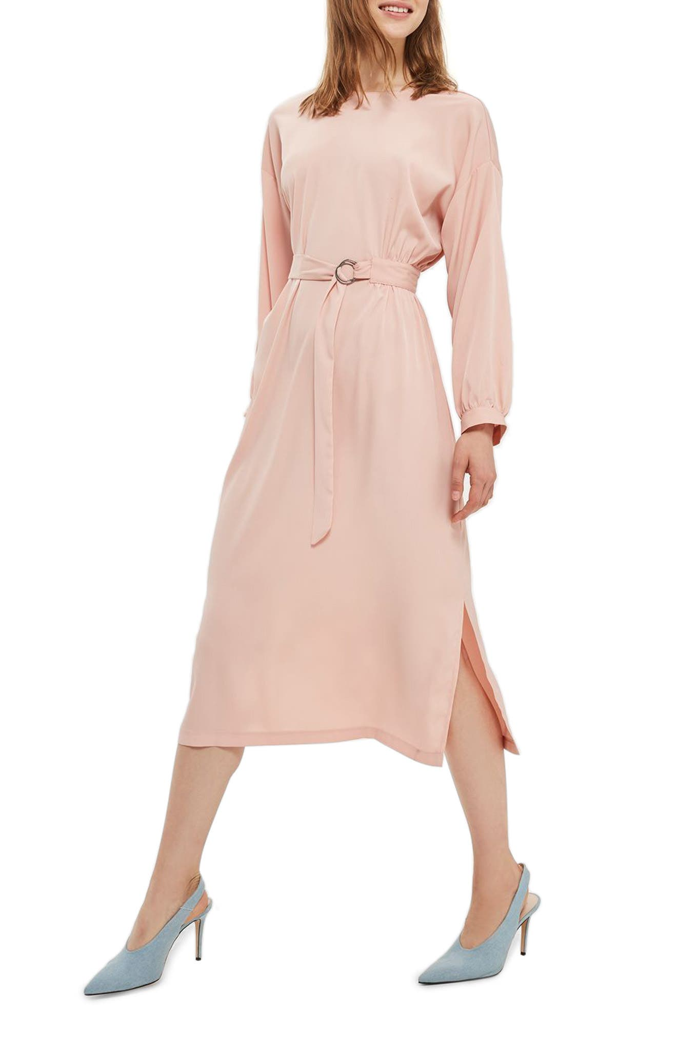 Topshop Dusty Belted Midi Dress