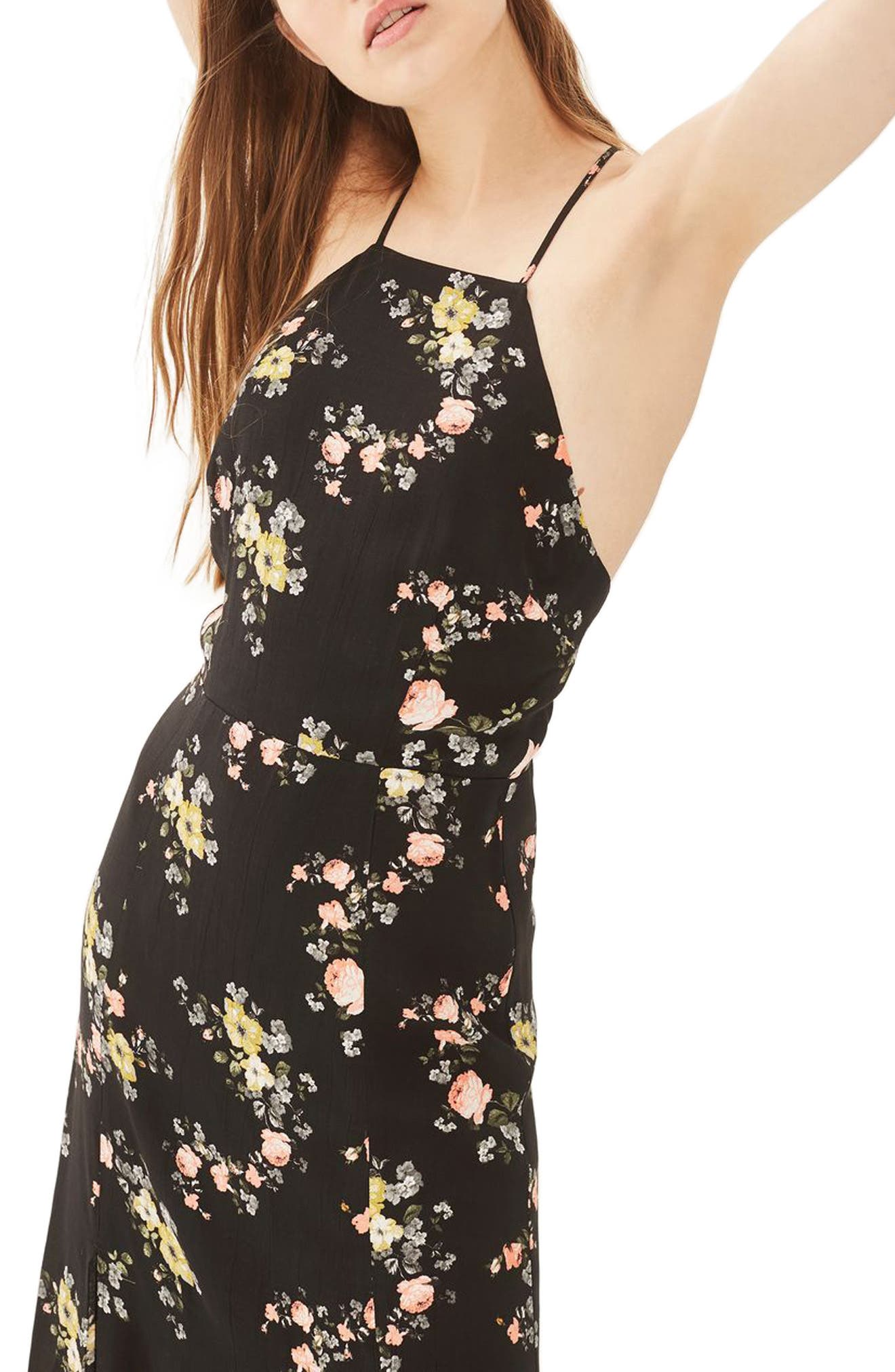 Topshop Floral Square Neck Midi Dress