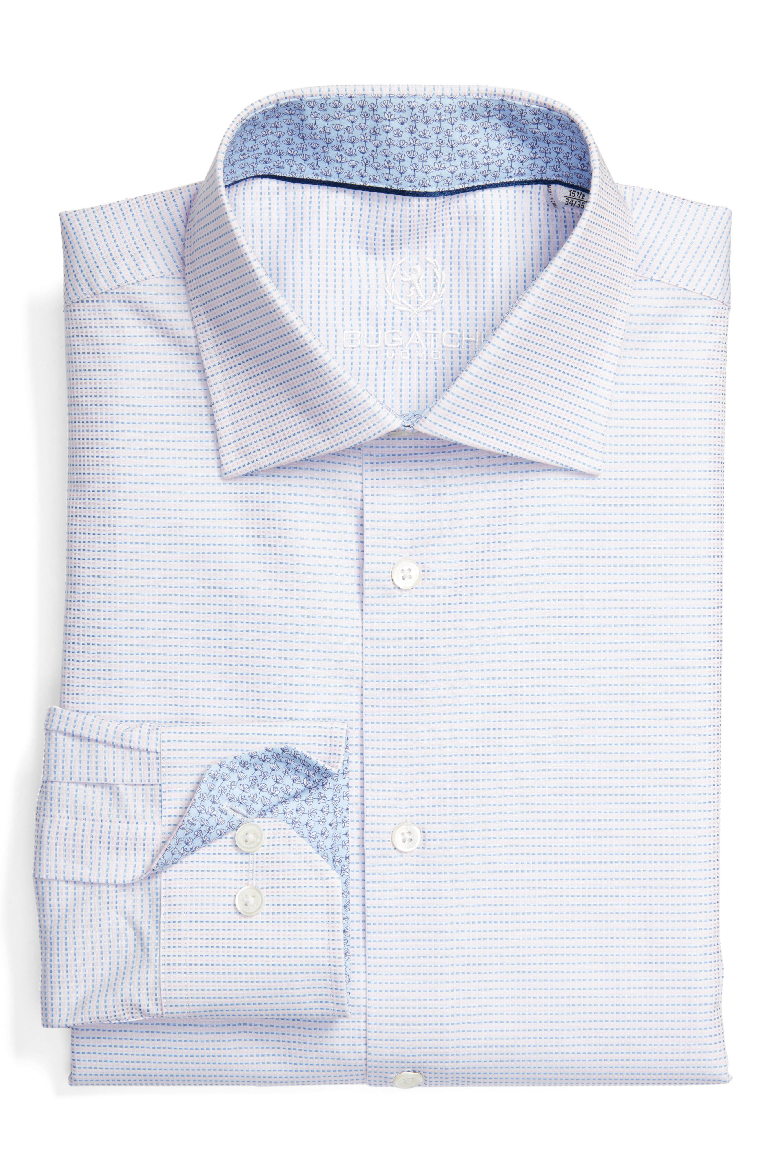 Bugatchi Trim Fit Geometric Dress Shirt (Regular & Big)