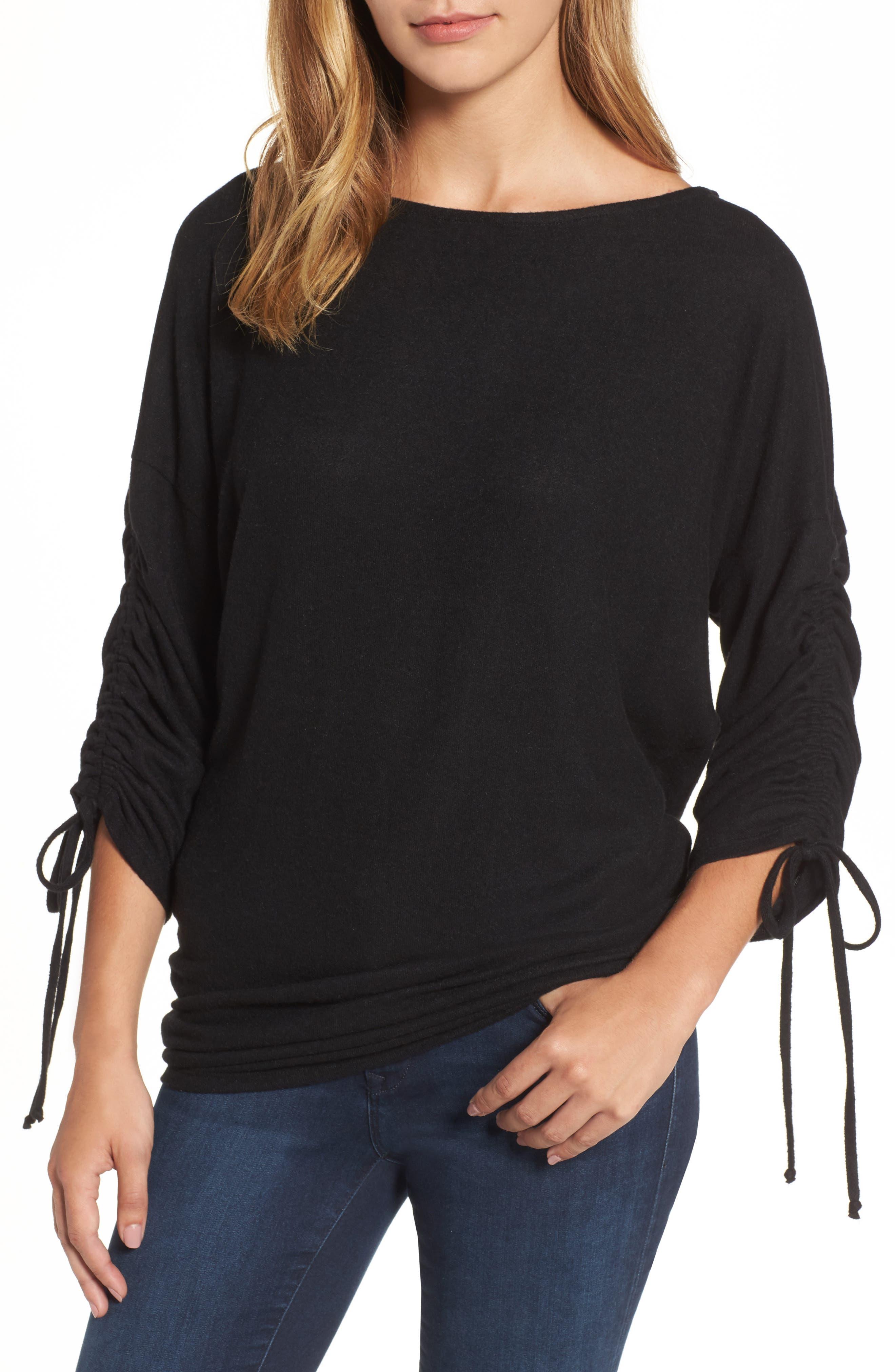 Gibson Tie Sleeve Cozy Fleece Top