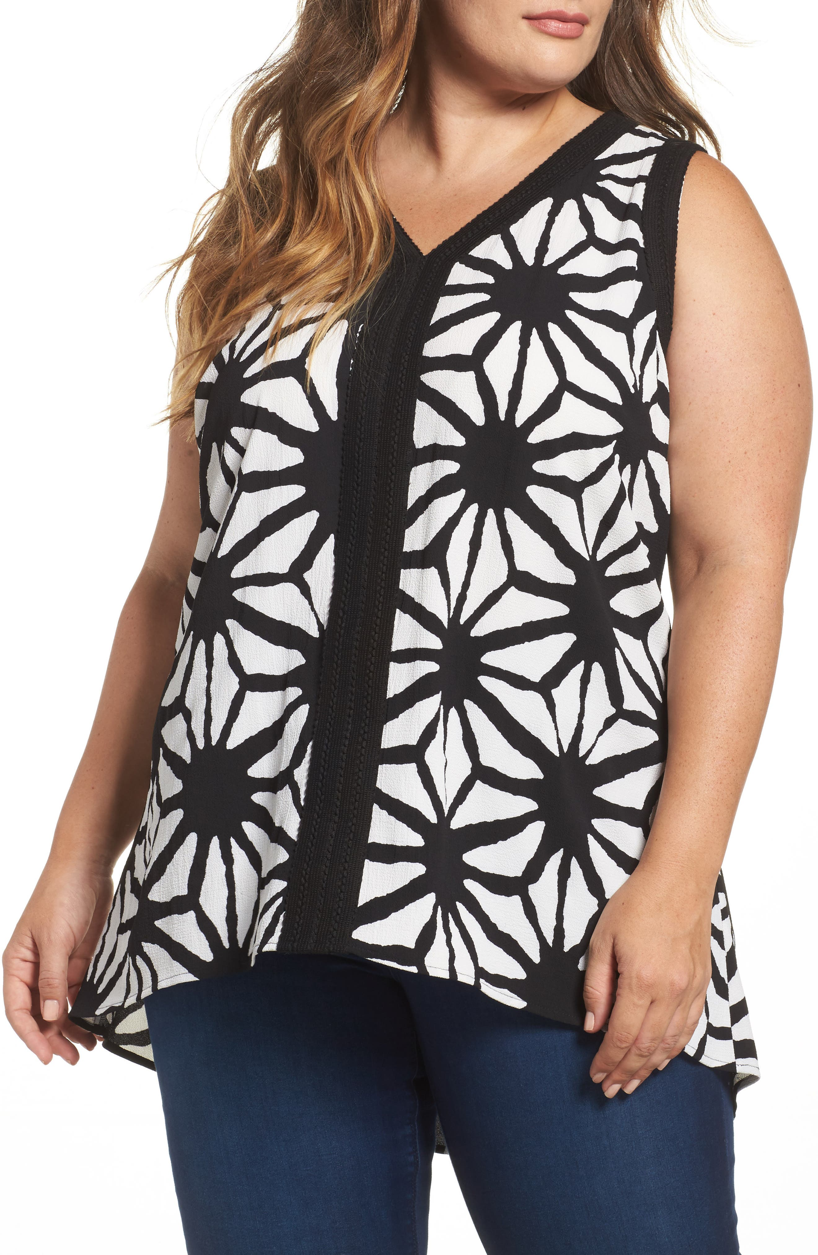 Vince Camuto Starlight Print High/Low Blouse (Plus Size)