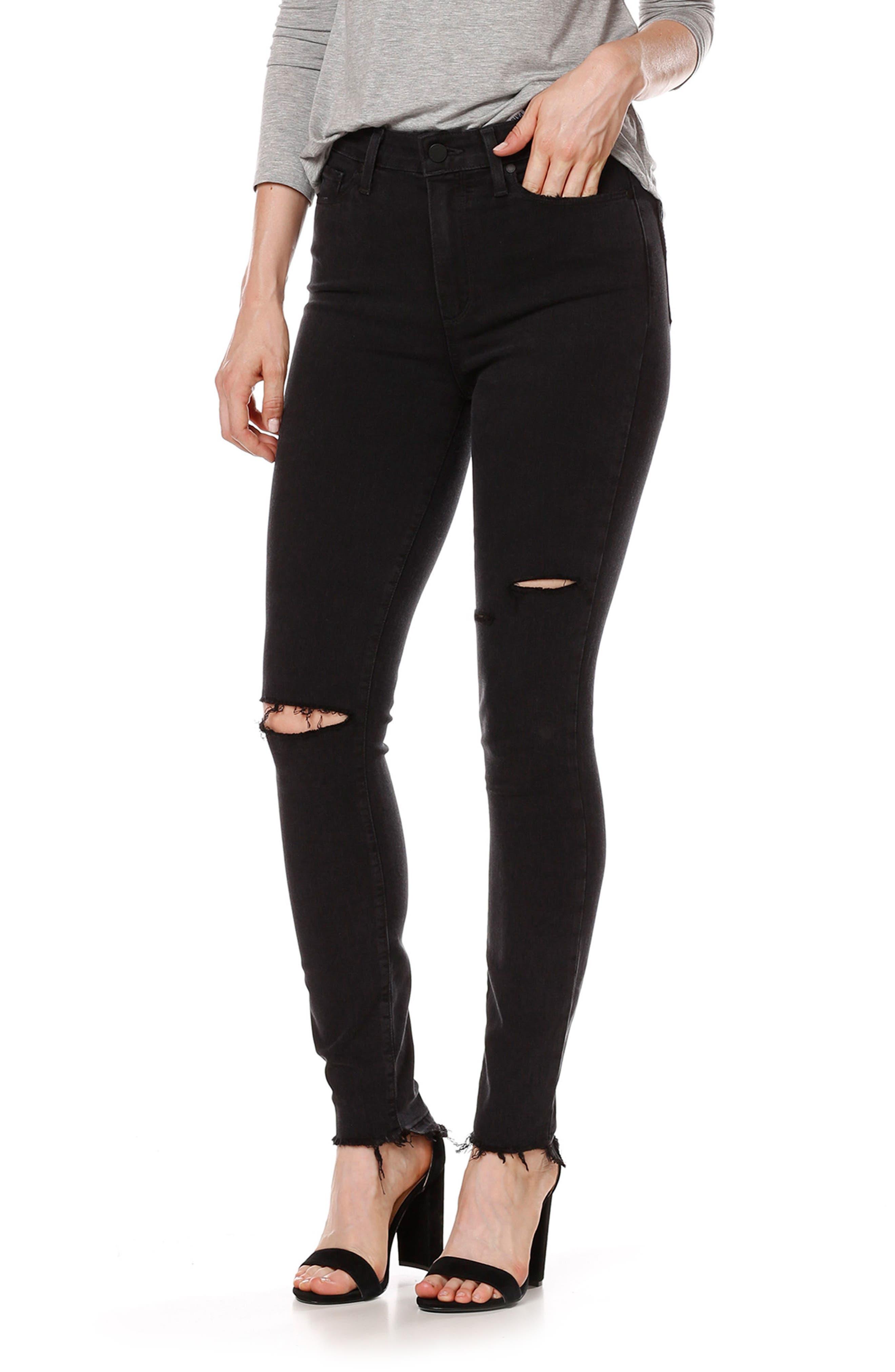 PAIGE Transcend - Margot High Waist Ankle Skinny Jeans (Black Sky Destructed)