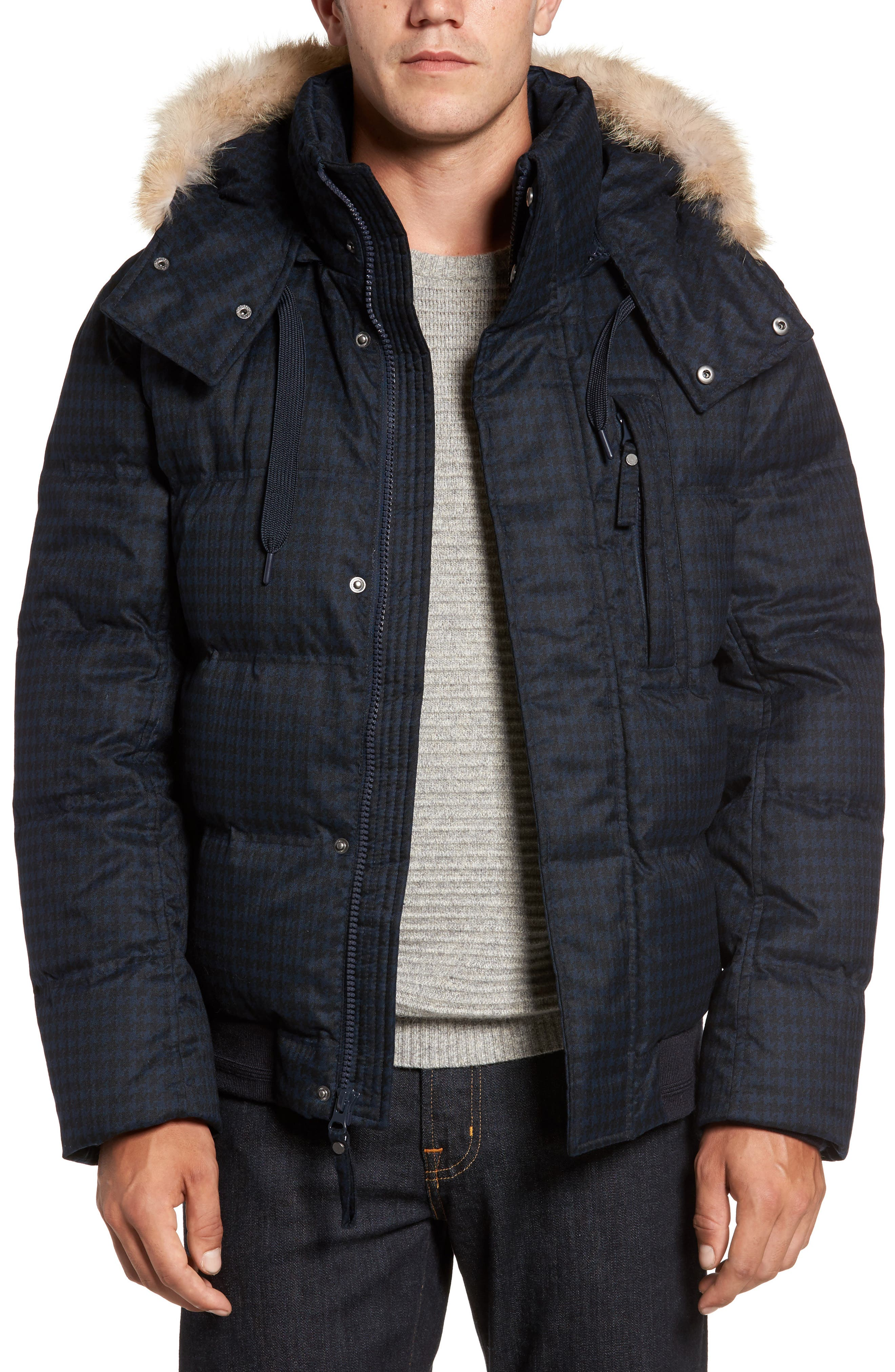 Andrew Marc Print Quilted Jacket with Genuine Coyote Fur Trim