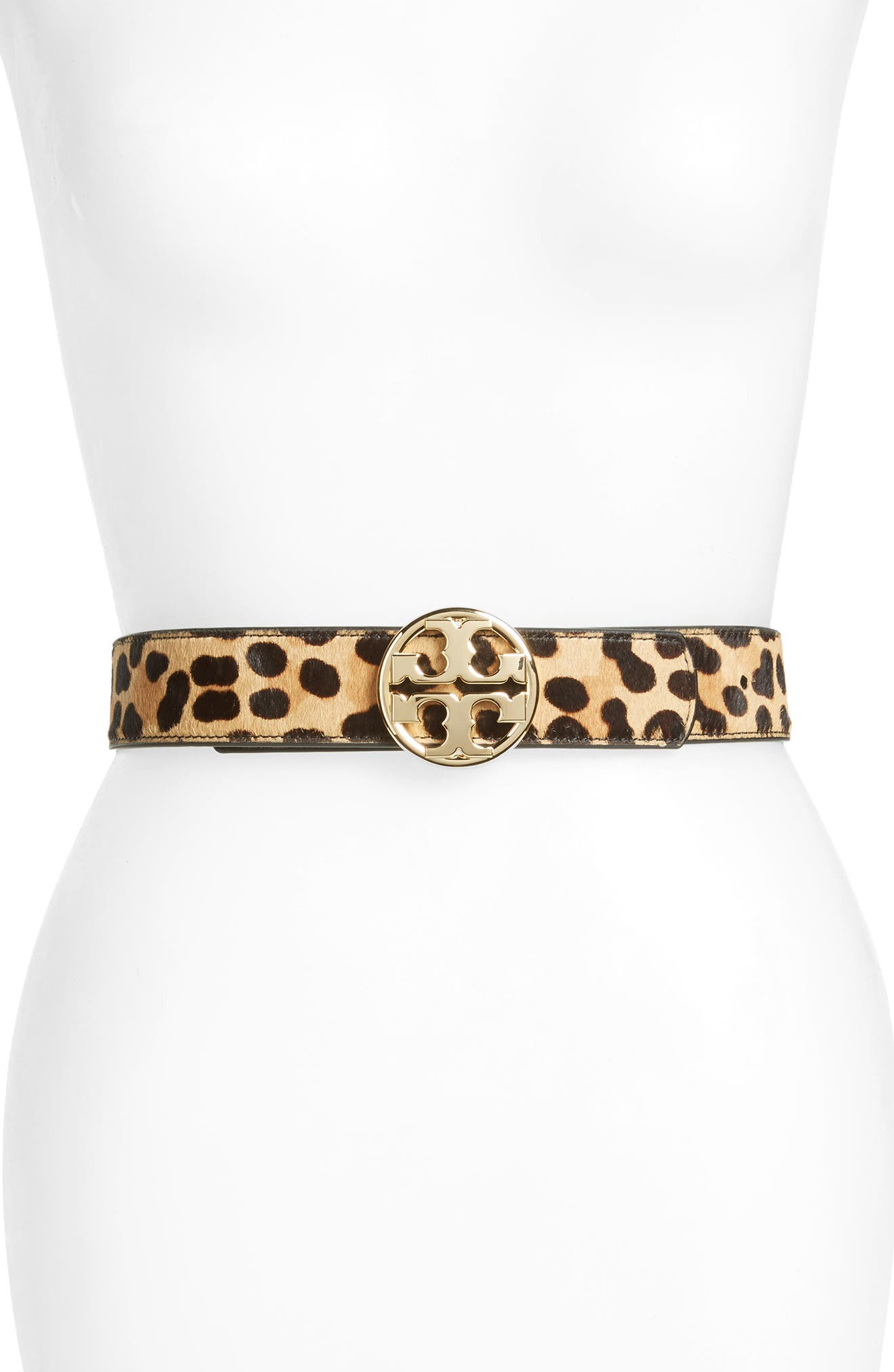 Tory Burch Reversible Leather & Genuine Calf Hair Logo Belt