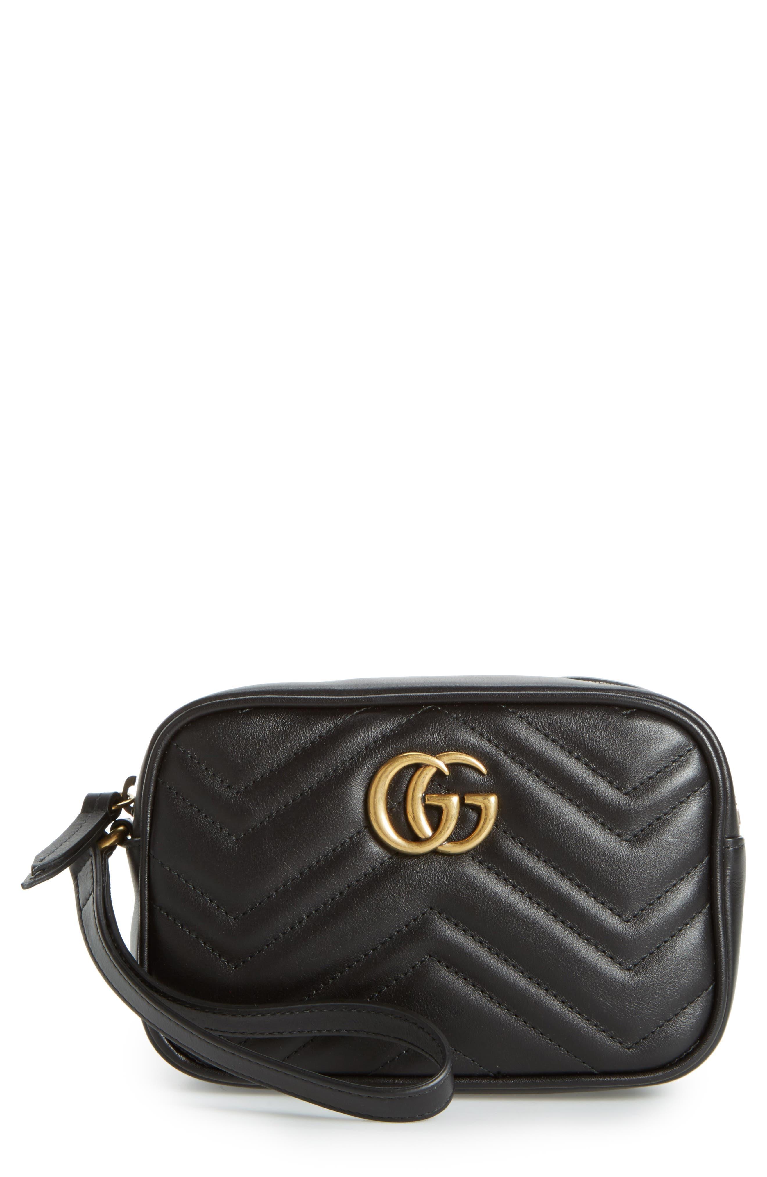 Gucci Mini GG Marmont 2.0 Matelassé Leather Wristlet