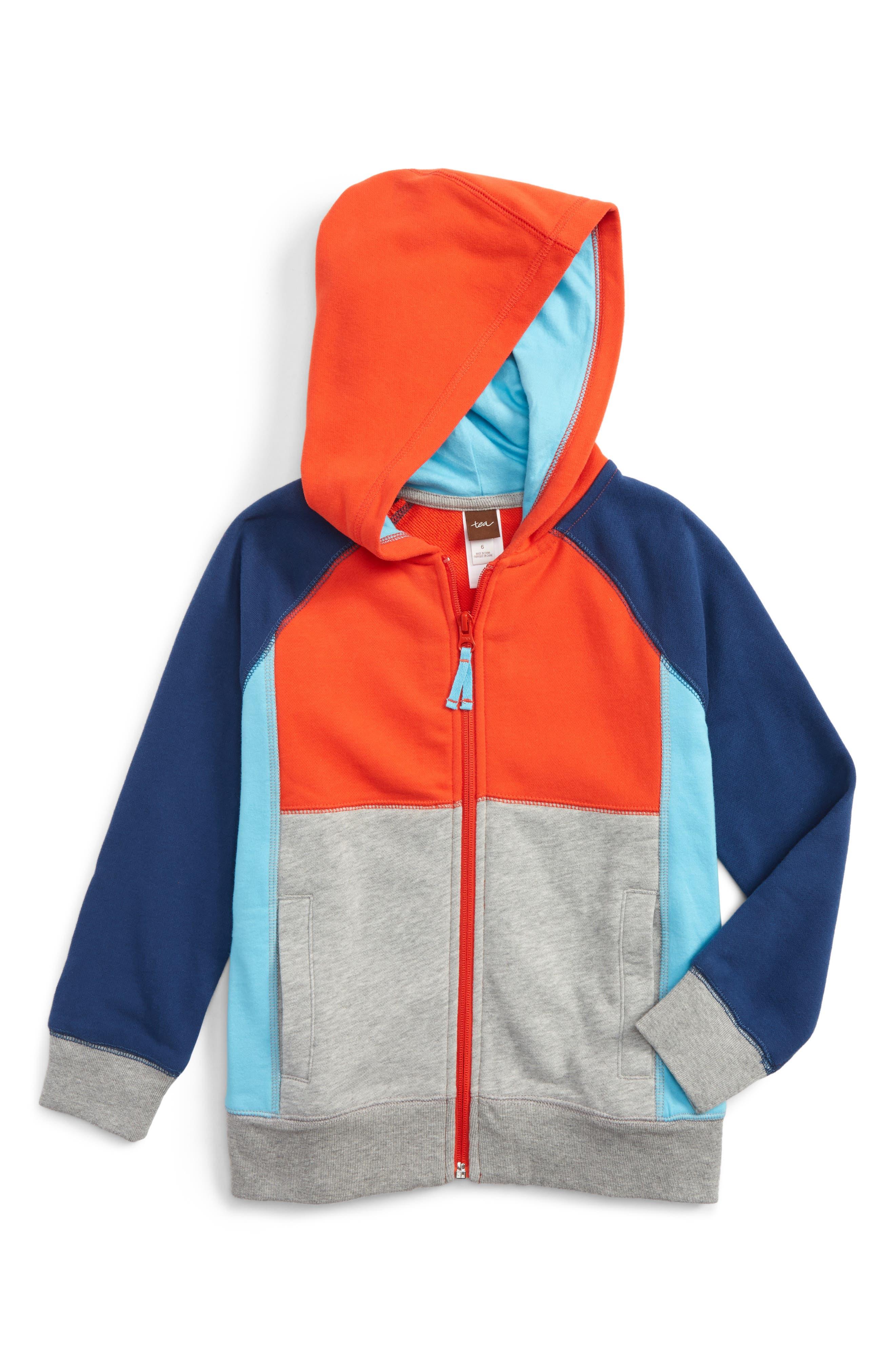 Tea Collection Colorblock Zip Hoodie (Toddler Boys & Little Boys)