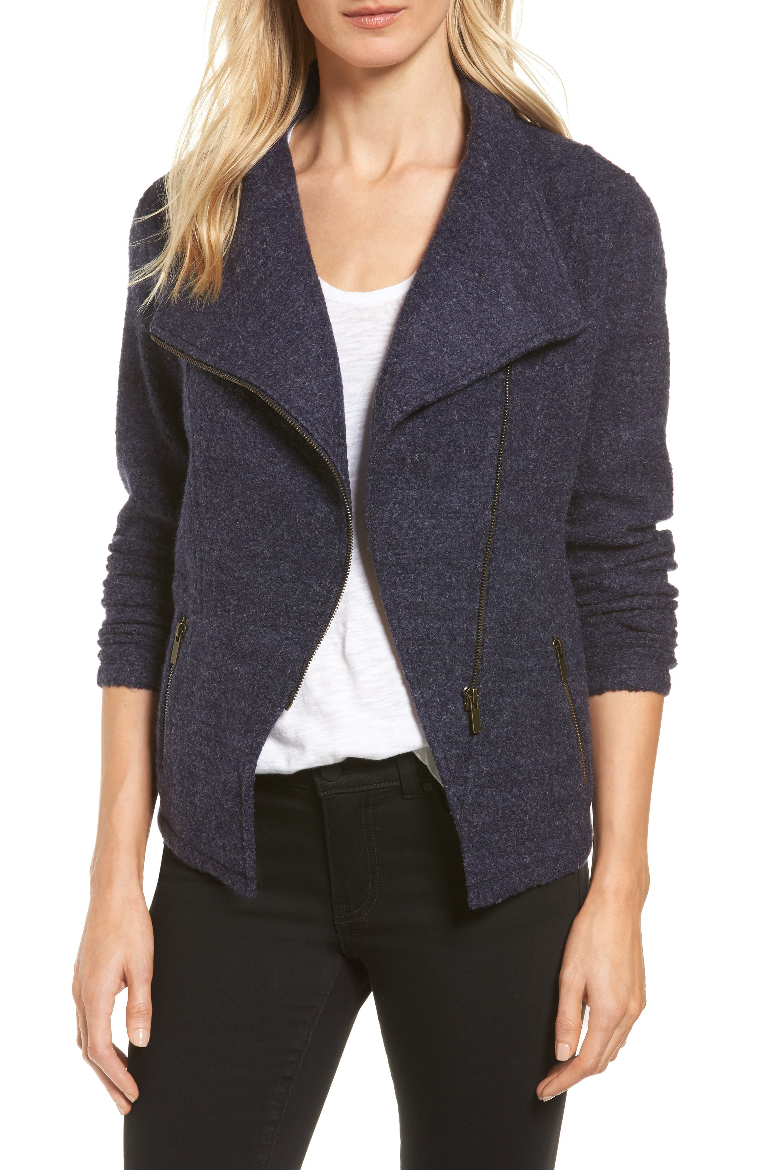 Halogen® Knit Moto Jacket (Regular & Petite)