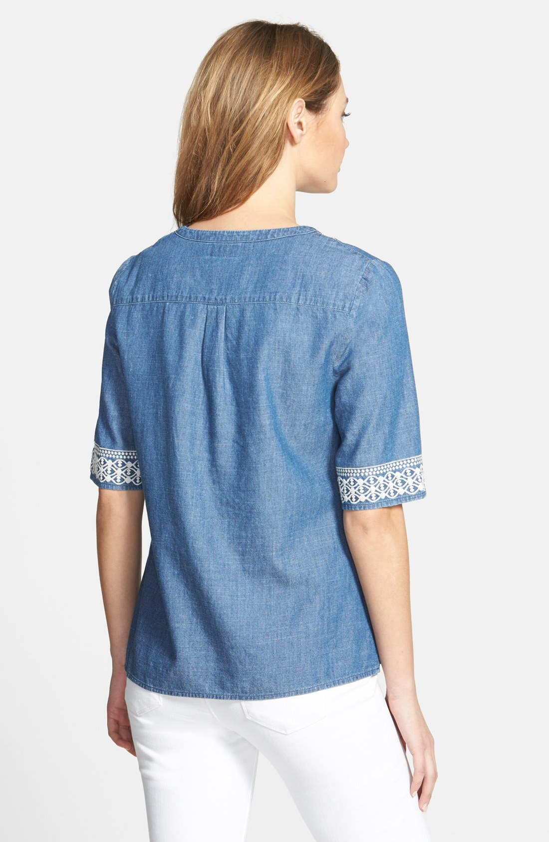 Alternate Image 2  - Vineyard Vines Embroidered Chambray Top
