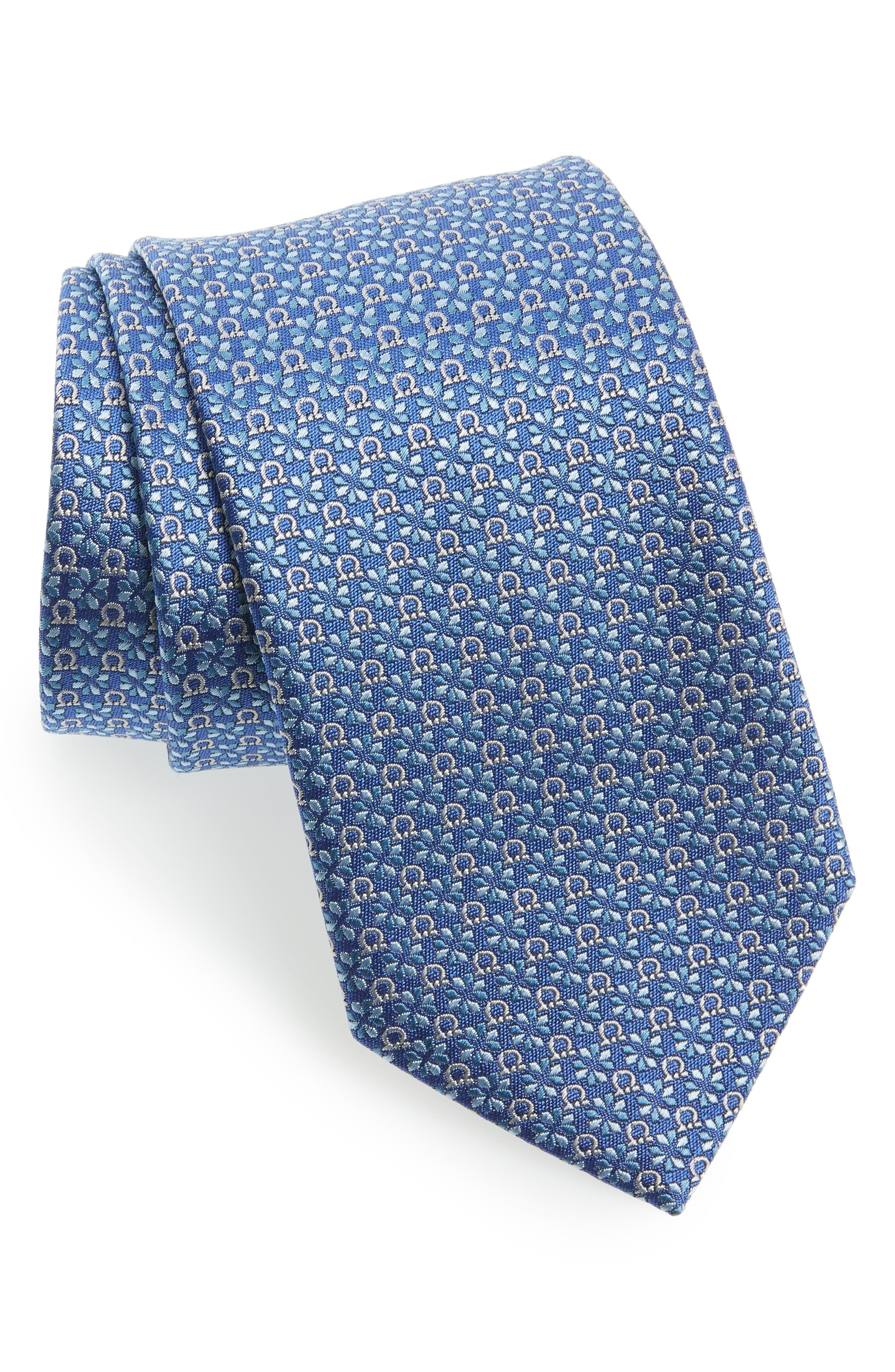 Salvatore Ferragamo Geometric Gancini & Floral Print Silk Tie
