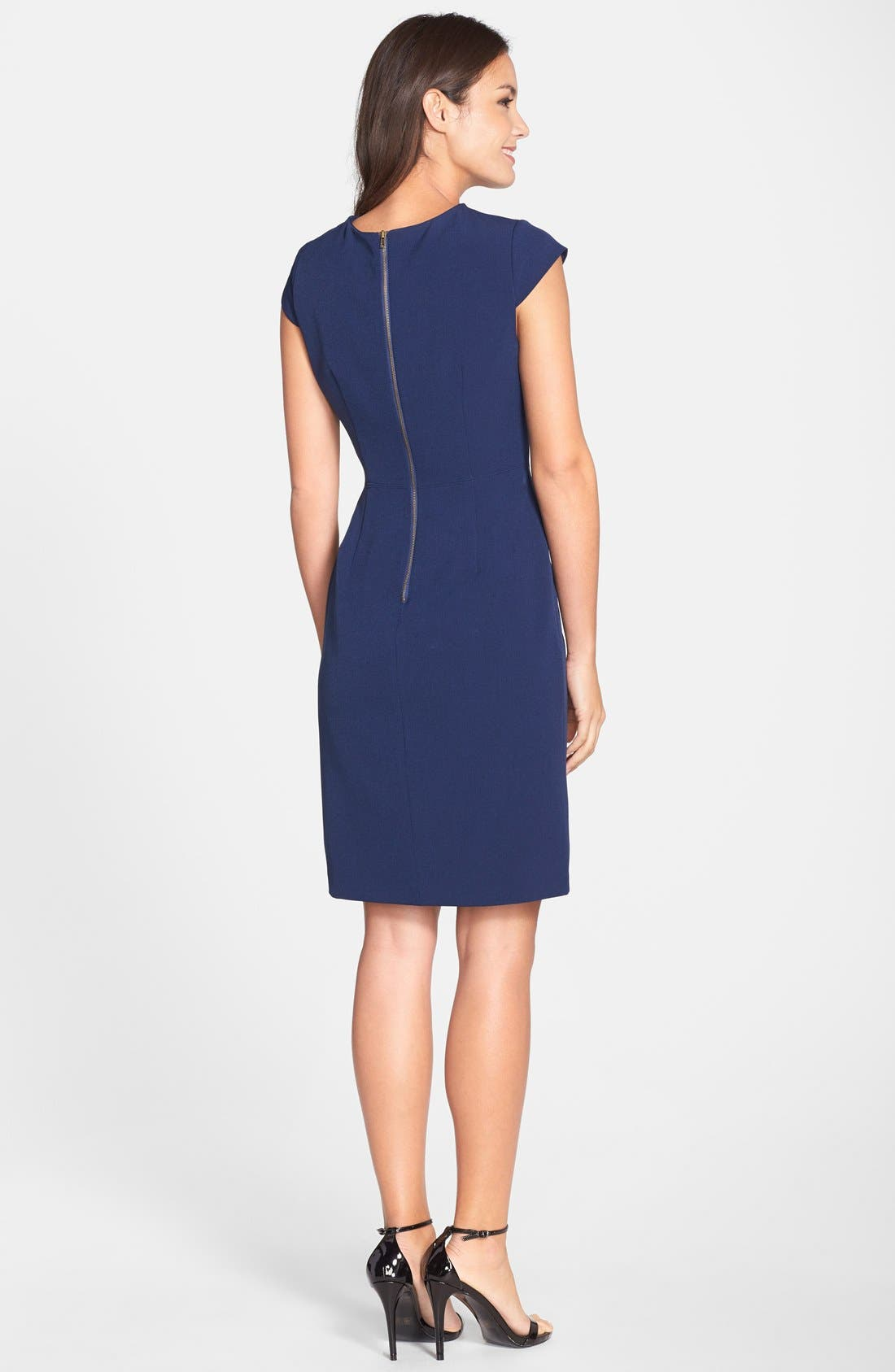 Alternate Image 2  - Adrianna Papell Cutout Neck Crepe Sheath Dress (Regular & Petite)