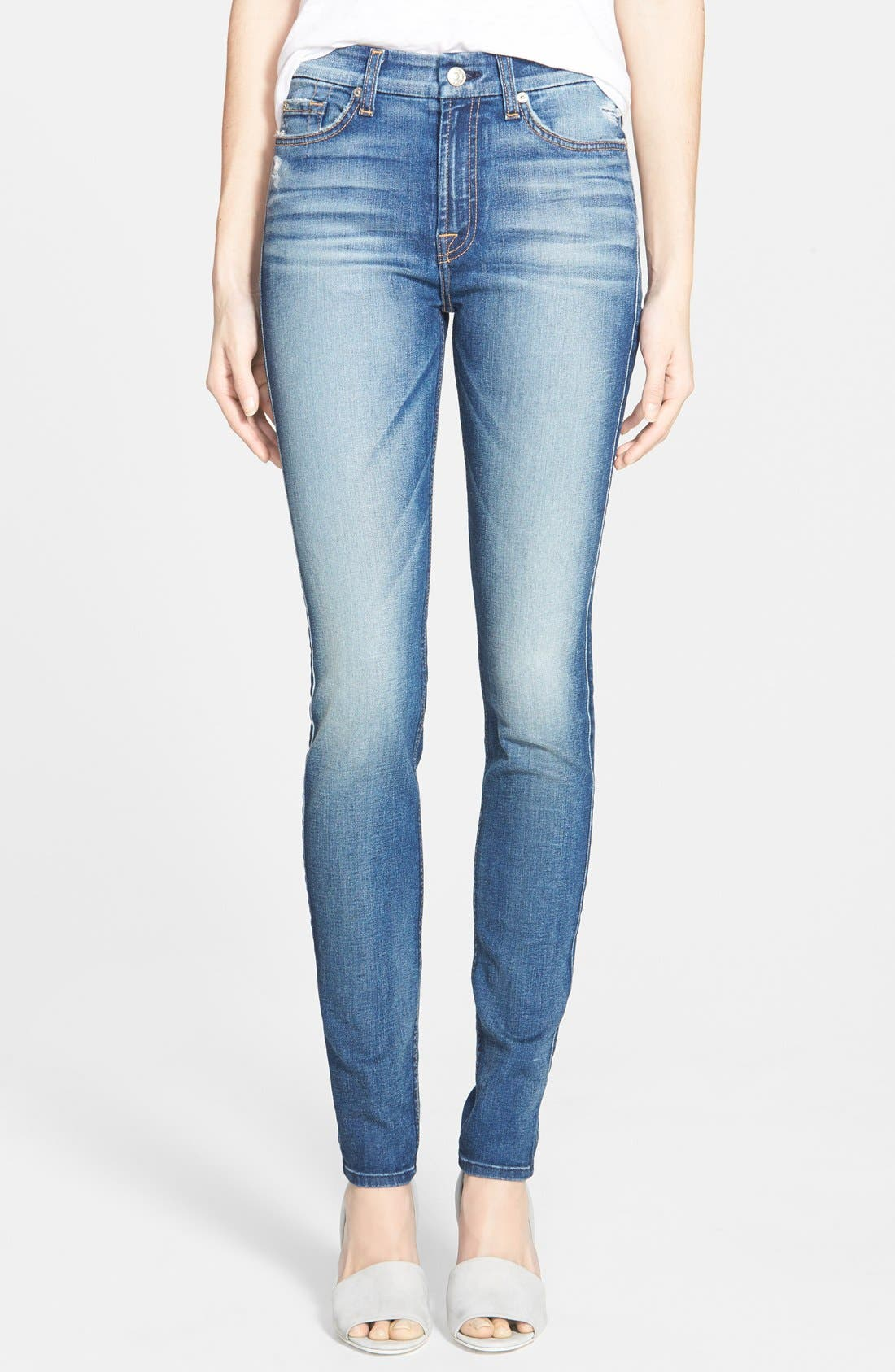 Alternate Image 1  - 7 For All Mankind® Mid Rise Skinny Jeans (Distressed Authentic Light)