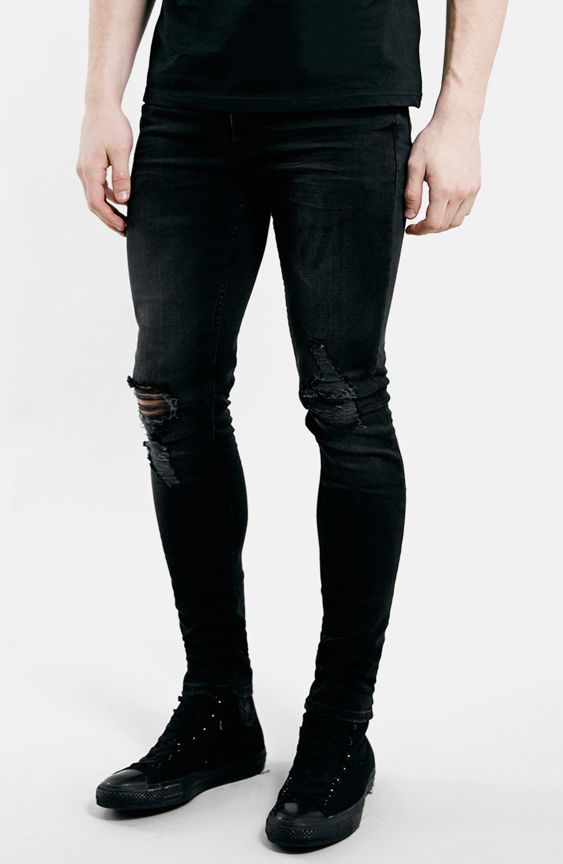 Main Image - Topman Ripped Spray On Skinny Jeans (Black)