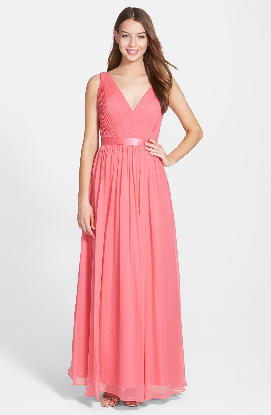 Alternate Image 1 Selected - Aidan Mattox Silk Chiffon Gown