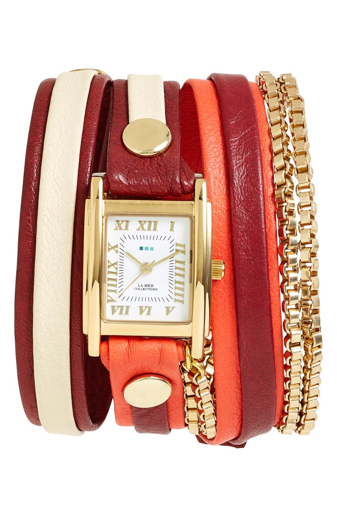 Main Image - La Mer Collections Leather & Chain Wrap Watch, 19mm