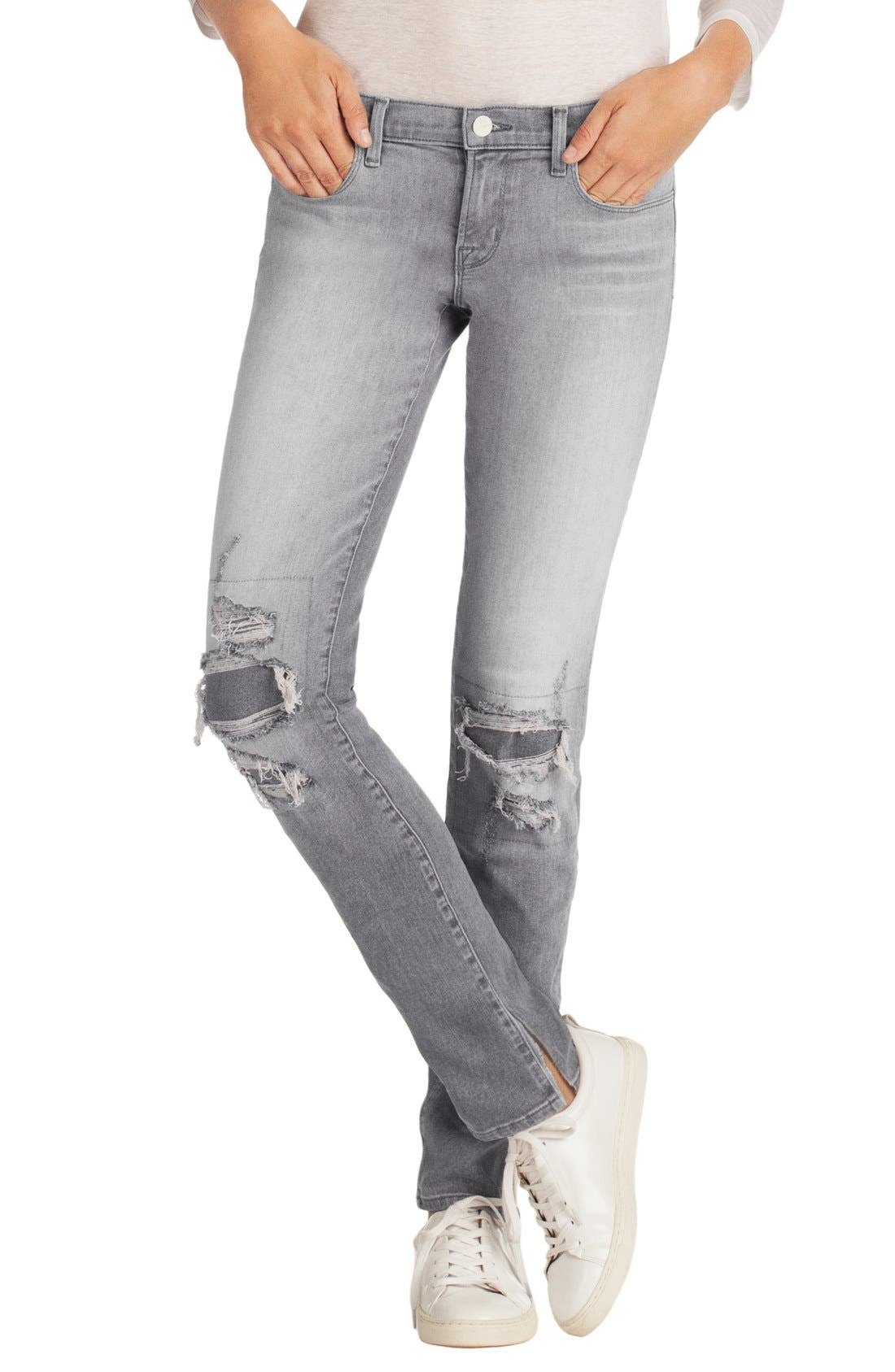 Main Image - J Brand Destructed Mid Rise Jeans (Sweet)