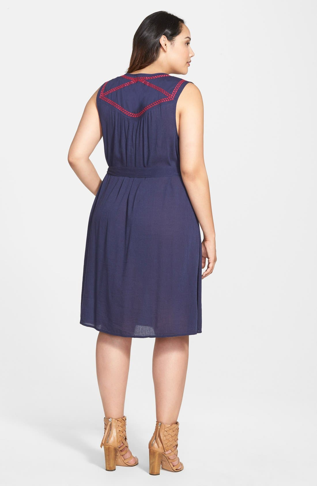 Alternate Image 2  - Caslon® Embroidered Yoke Sleeveless Shift Dress (Plus Size)