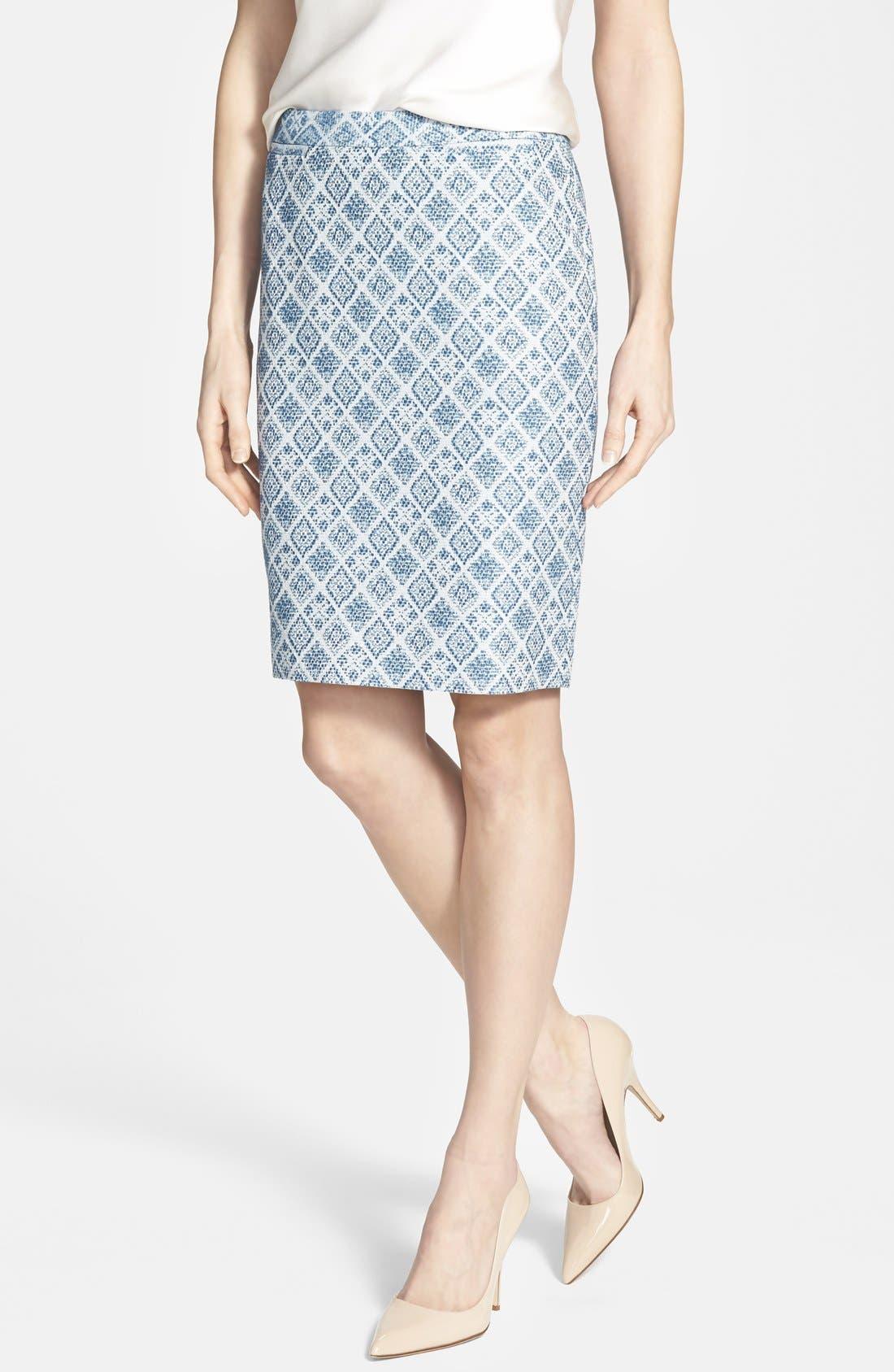 Alternate Image 1 Selected - Halogen® Welt Pocket Pencil Skirt (Regular & Petite)
